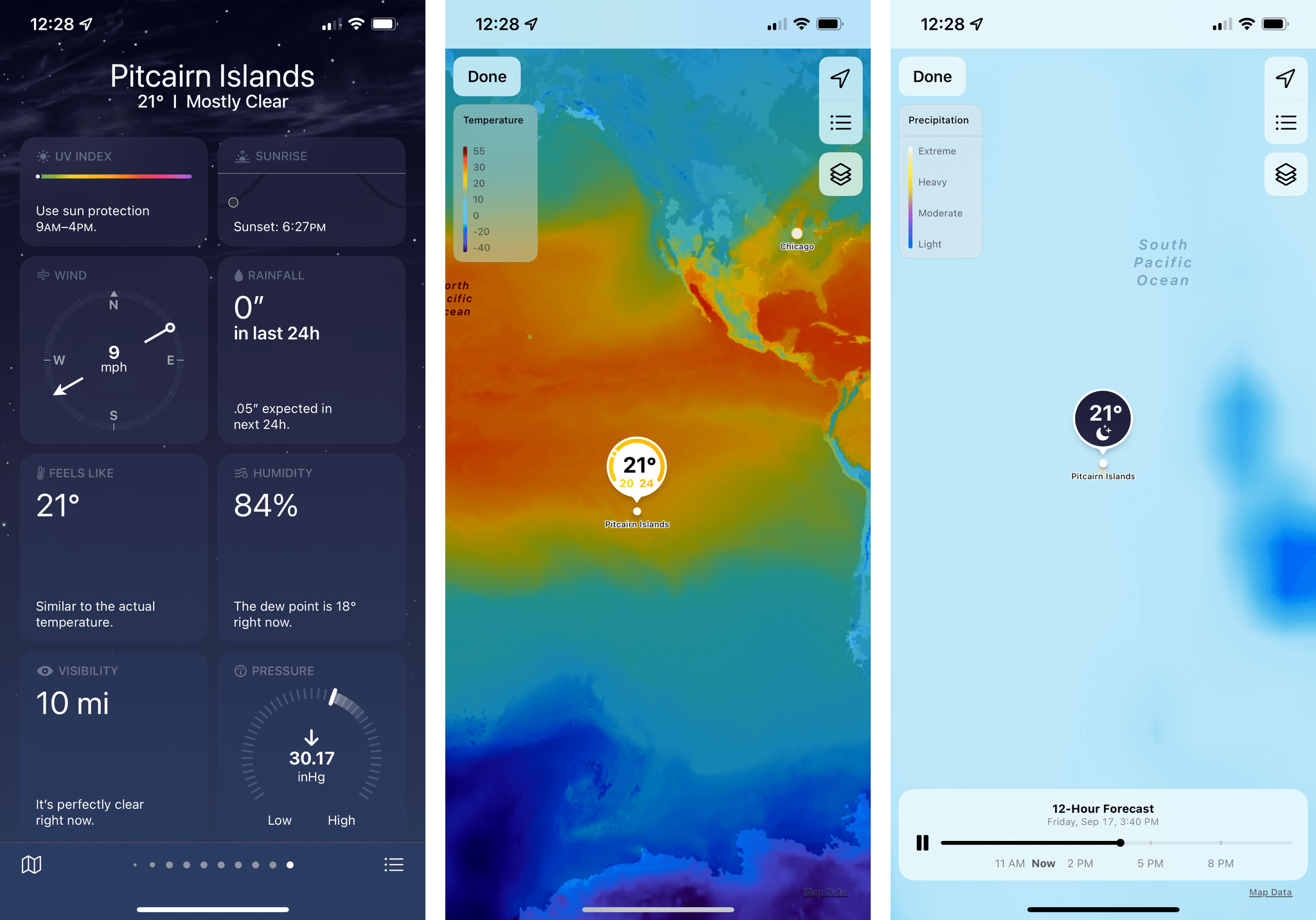 Maps in the new Weather app.