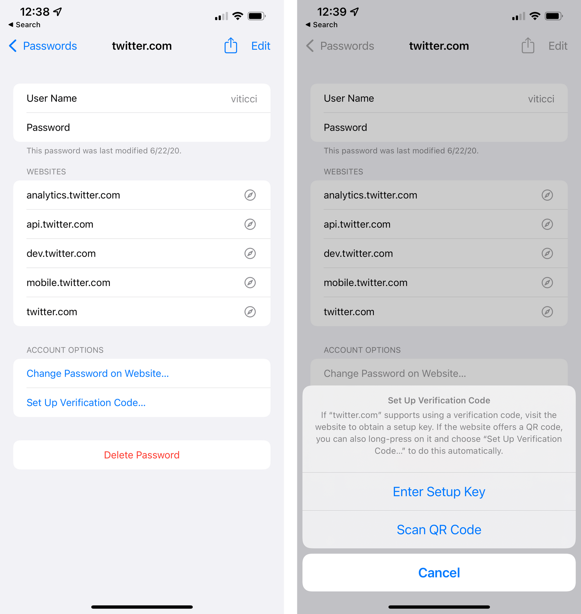 You can now set up verification codes in Passwords.