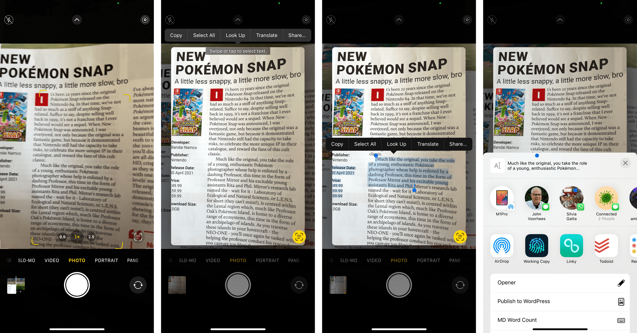 You can use Live Text to select text, copy it, translate it, look it up, and even share it with extensions.