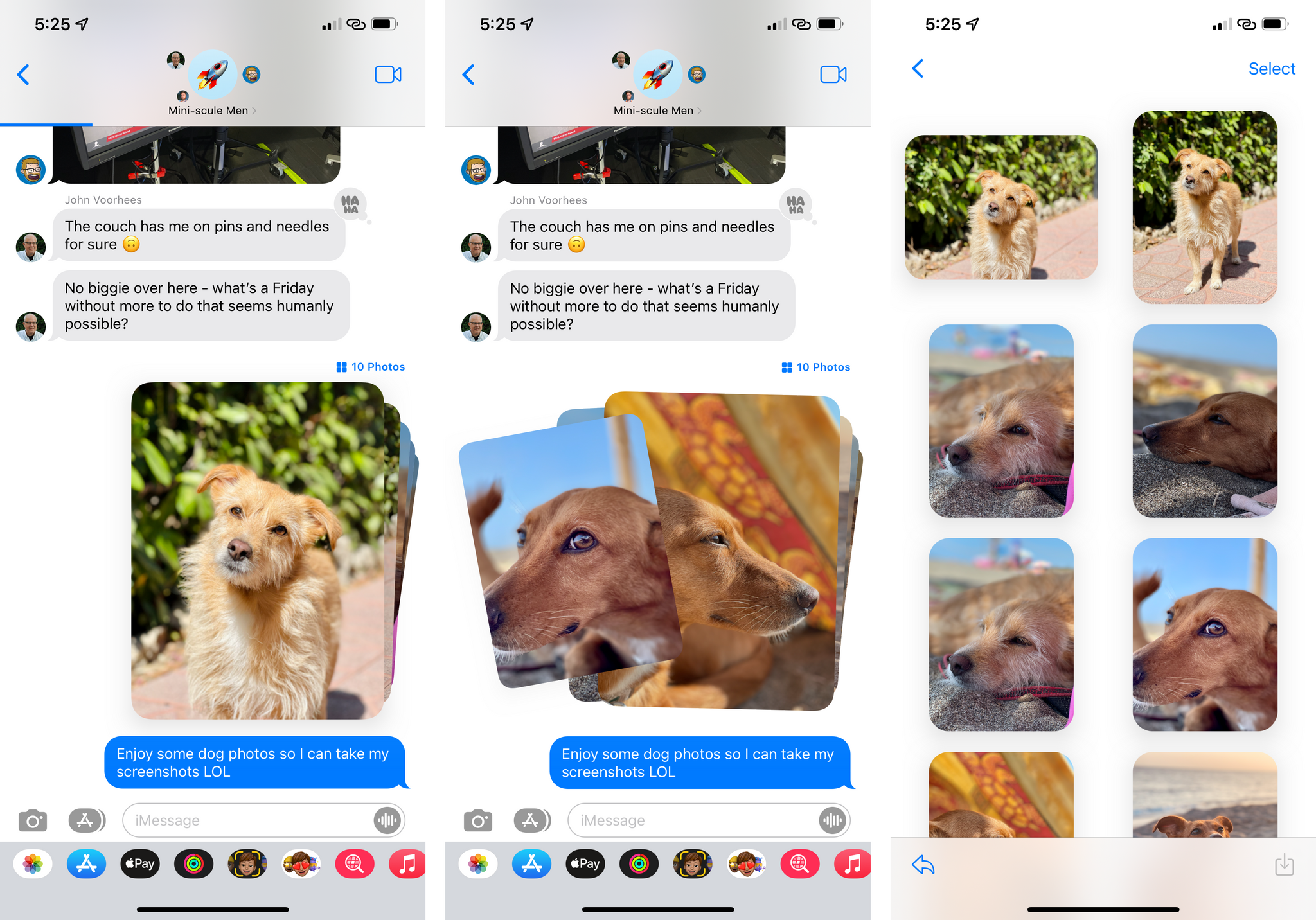 New photo stacks in Messages.