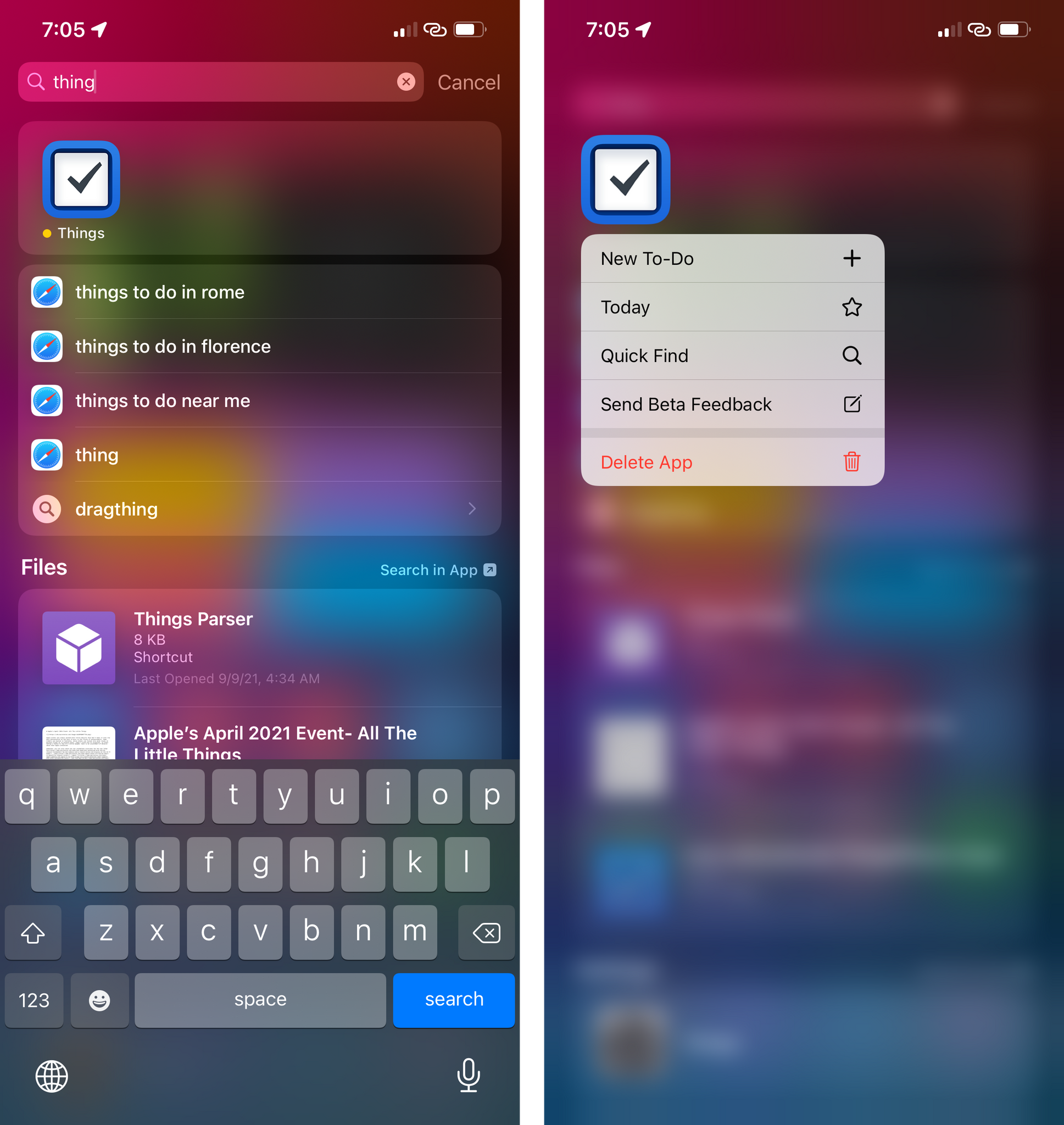 You can now delete apps from Spotlight.
