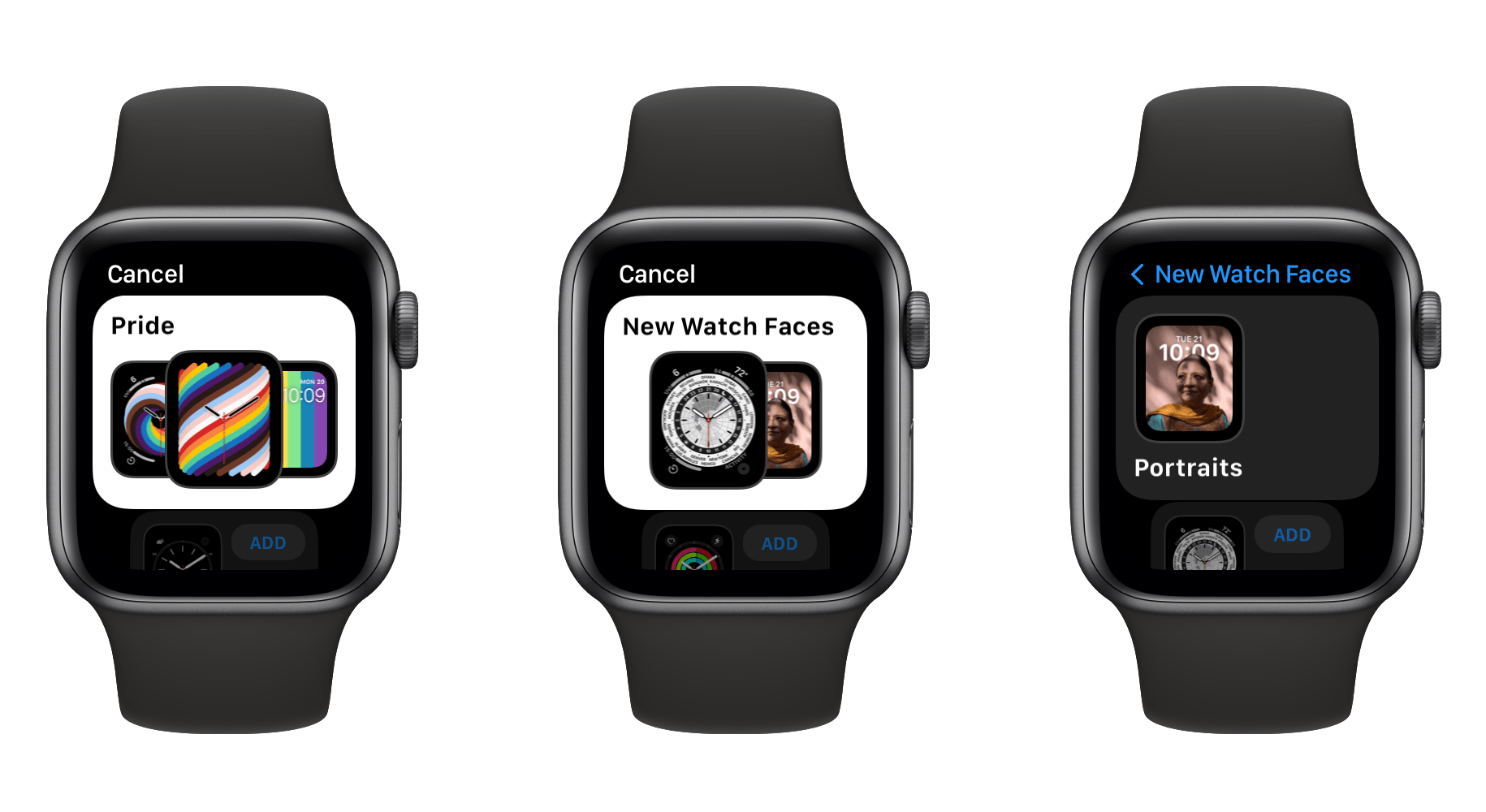 The new interface for creating watch faces in watchOS 8.