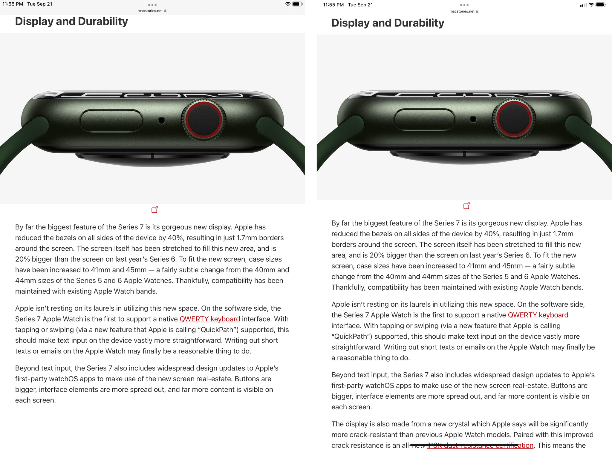 On the new iPad mini, you see three extra lines of text in the same article thanks to the taller display in portrait mode.