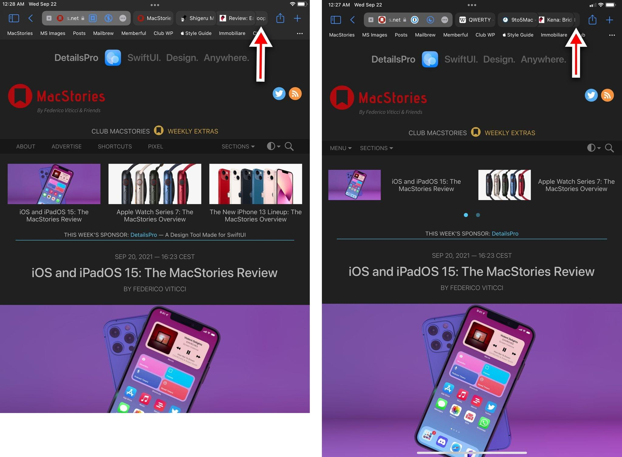 On the old mini (left), you see a tiny portion of an extra tab in Safari. I think it's more important how much vertical space you gain with the new iPad mini instead (right).