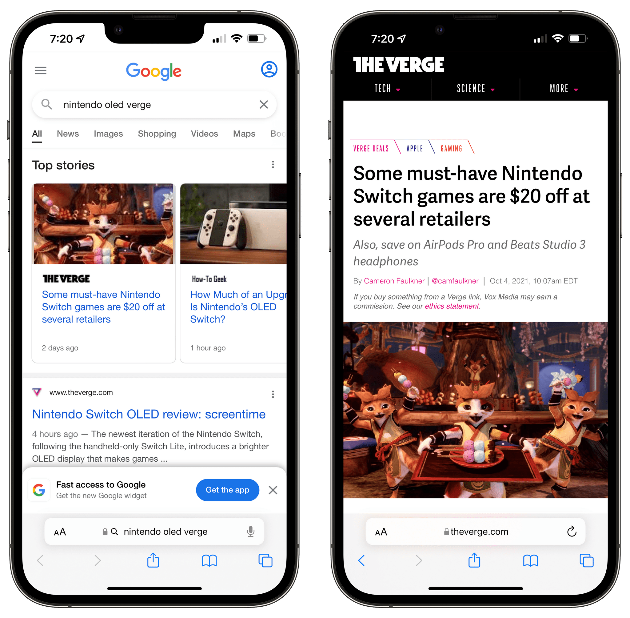 Google search results for an article that returns AMP results on iOS 14 but not iOS 15.