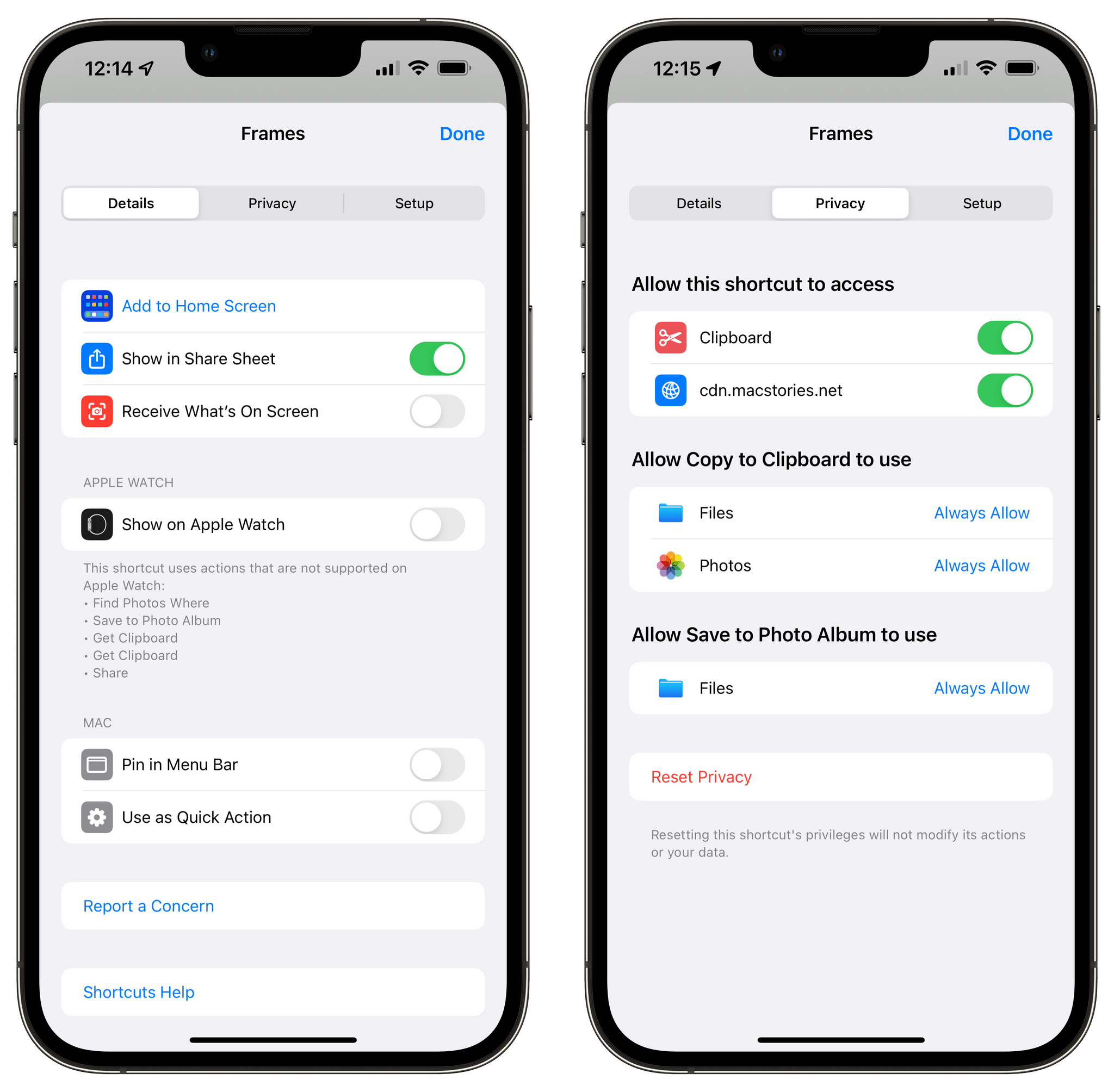 Privacy permissions for Apple Frames.