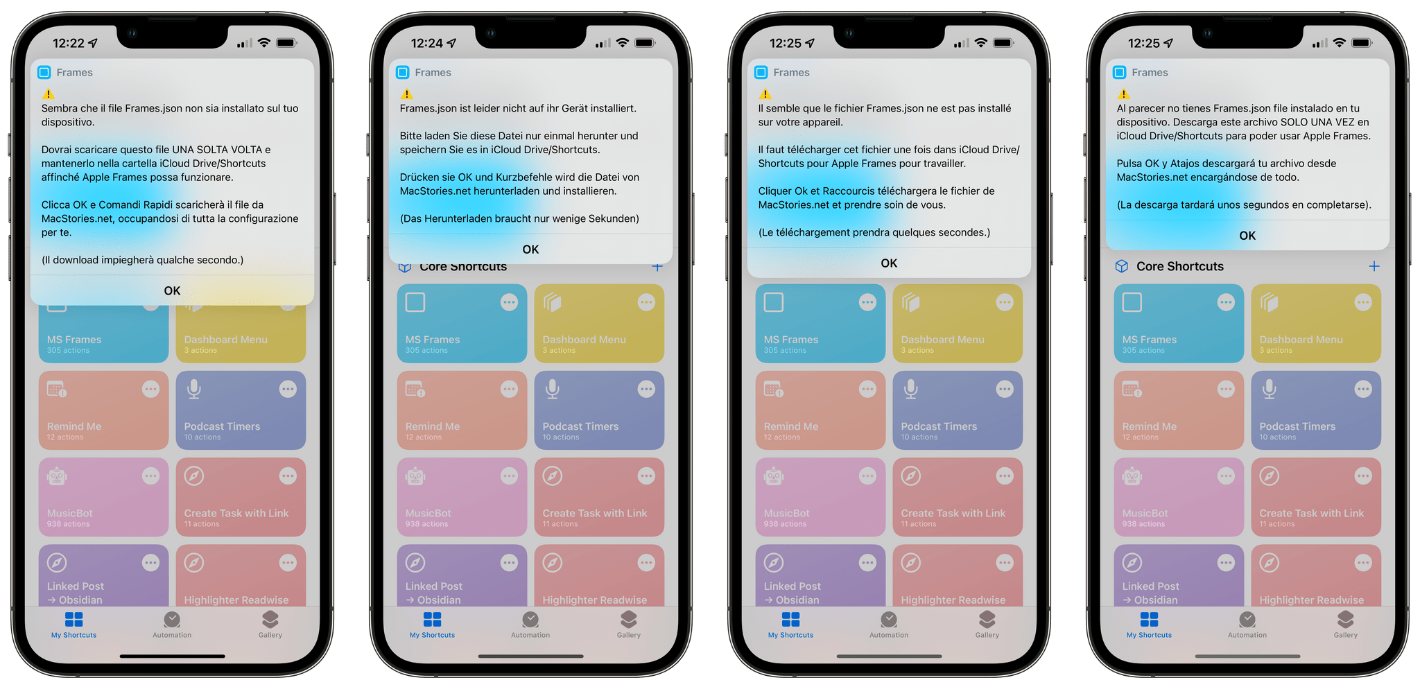 The localized setup flow in Apple Frames.