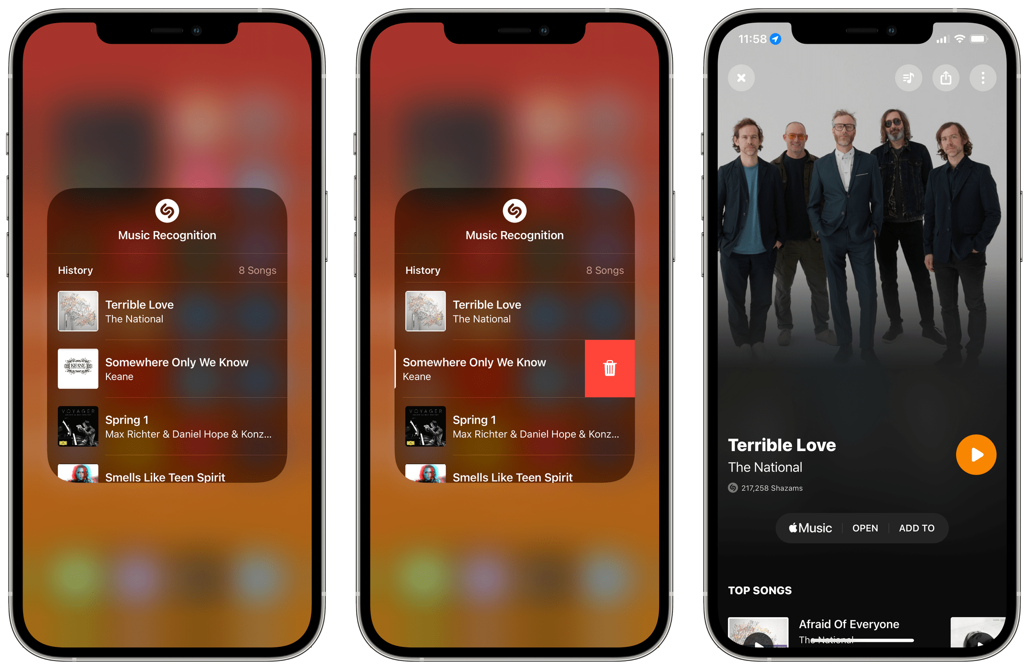 Viewing recently recognized songs from Control Center.