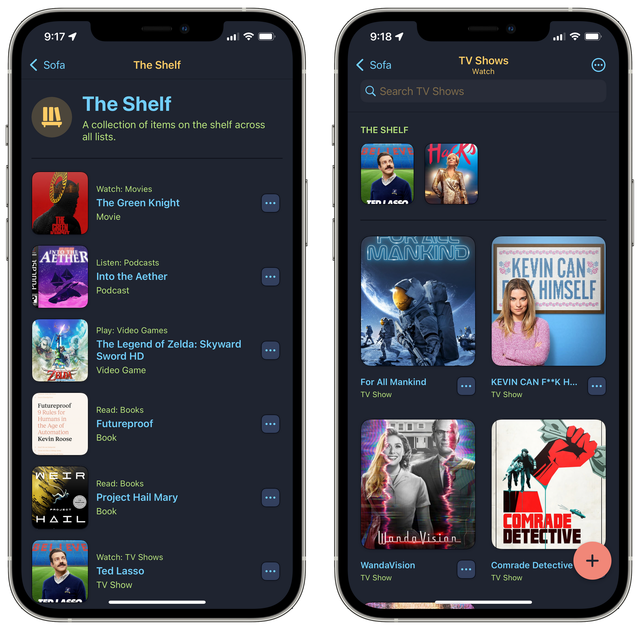 The Shelf is available in individual lists as a row of thumbnails at the top of the screen or as a separate list that includes Shelf items across all your lists.