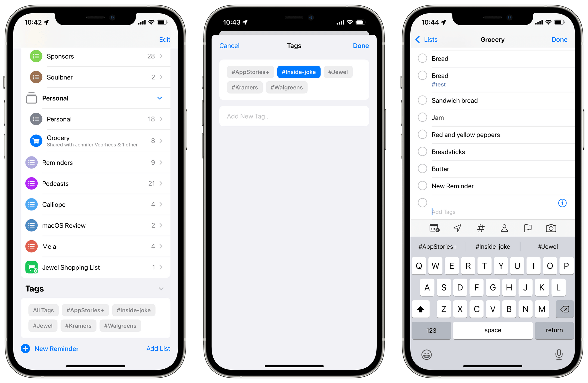 There's a new Tag Browser in Reminders and multiple ways to add new tags.