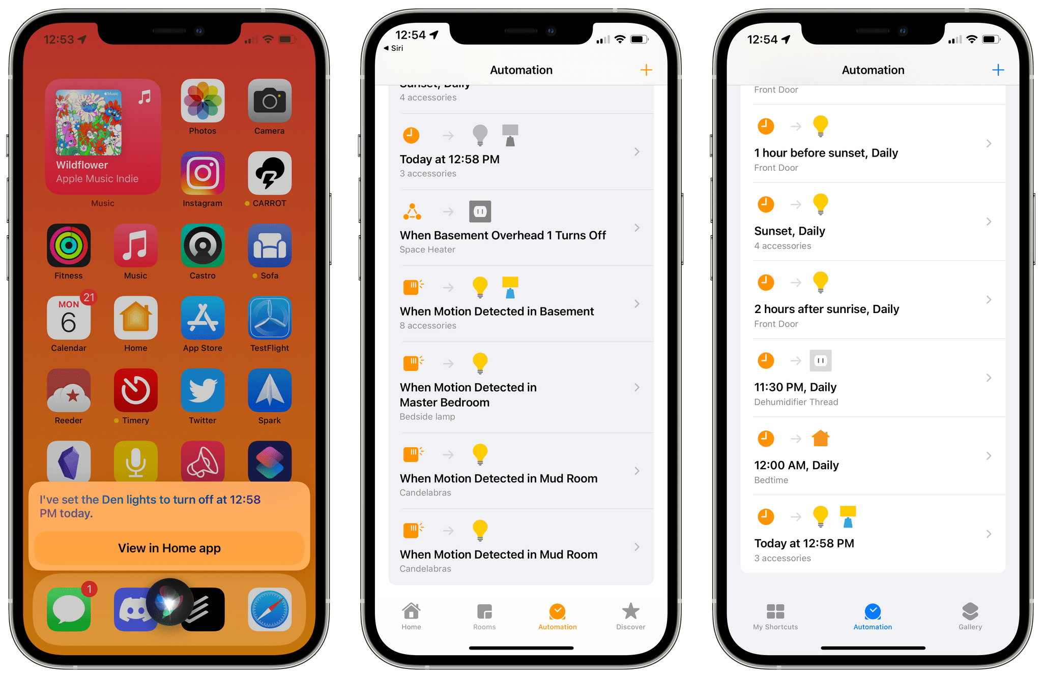 Time-based Siri commands show up as automations in the Home app and Shortcuts.