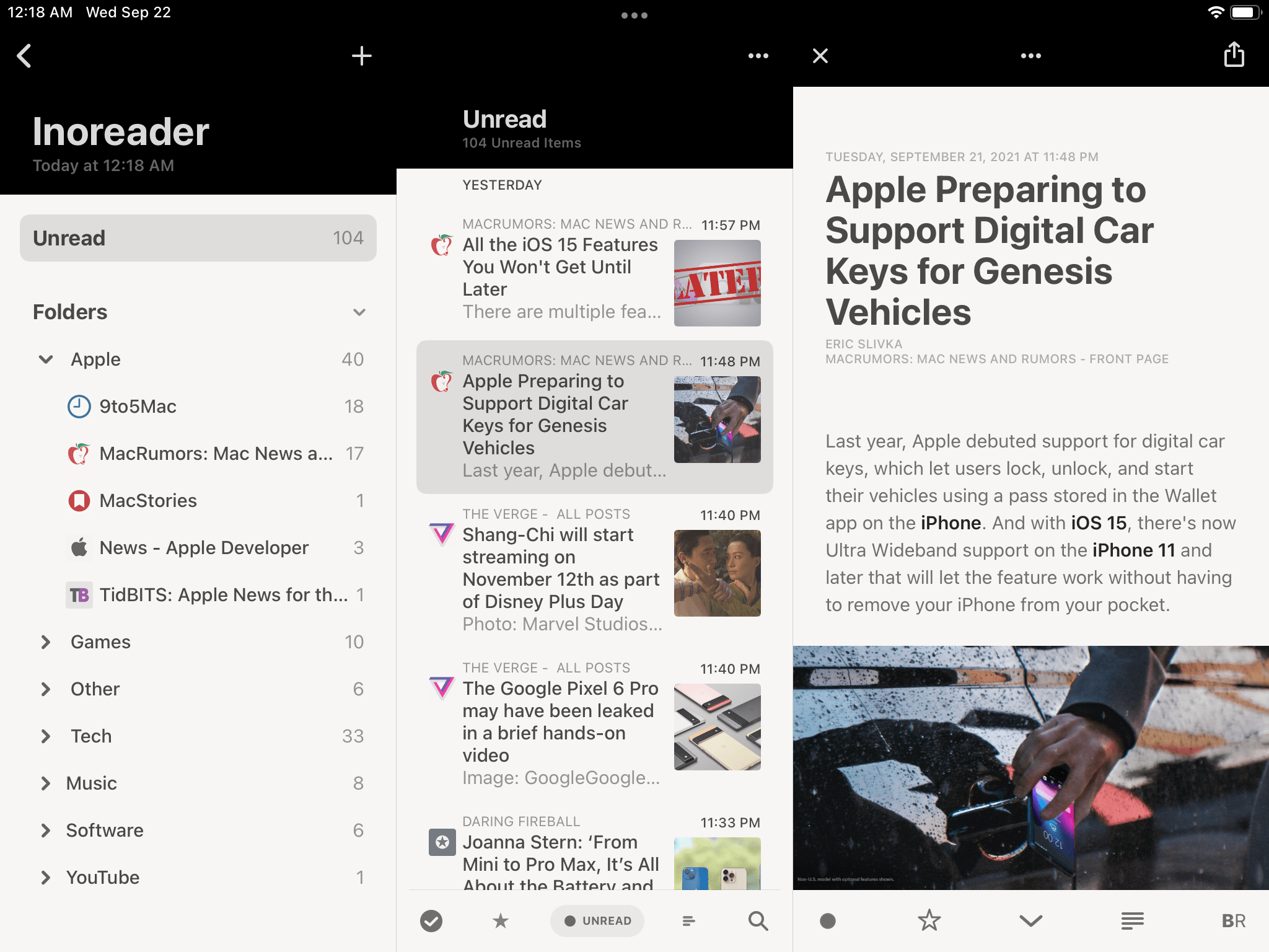 A multi-column app on the old iPad mini.