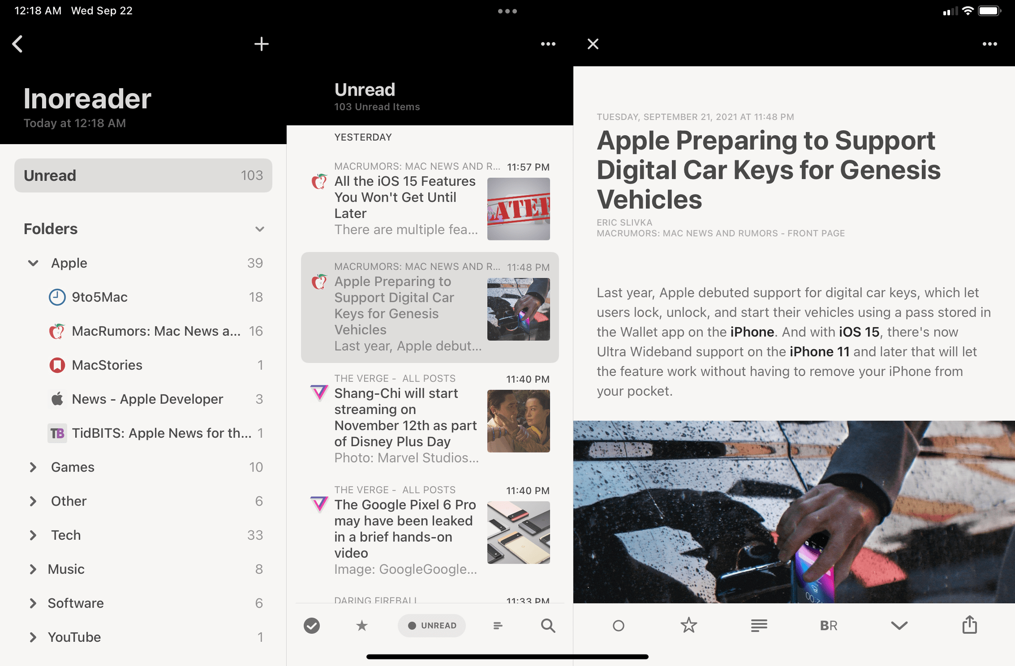 In the same app on the new iPad mini, the wider form factor makes multi-column layouts better optimized for a widescreen UI. However, you see fewer articles in the middle column due to the shorter display. In this case, you can also see how Reeder can enforce a three-column layout on the mini.