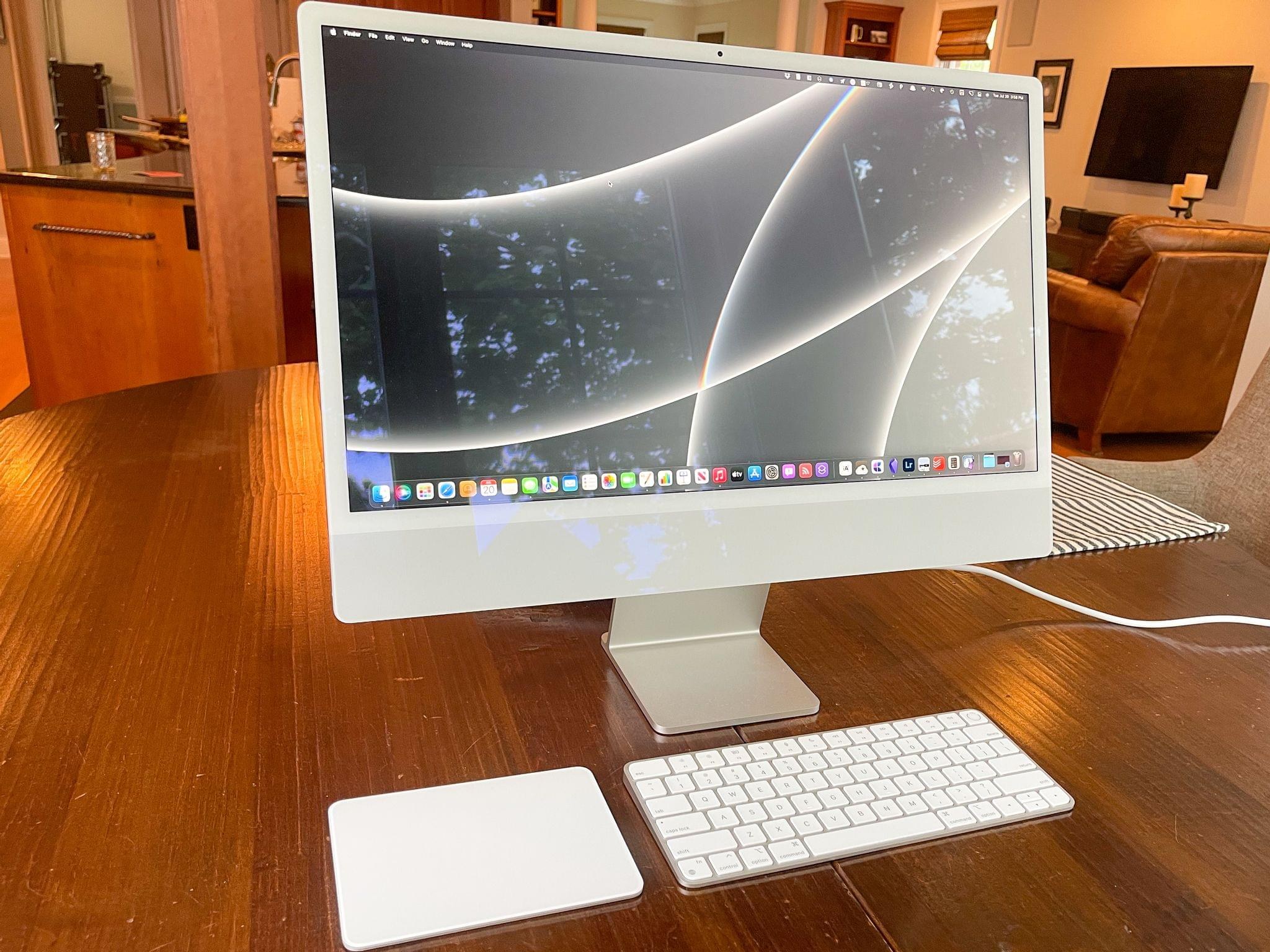I first set up the iMac at my kitchen table.