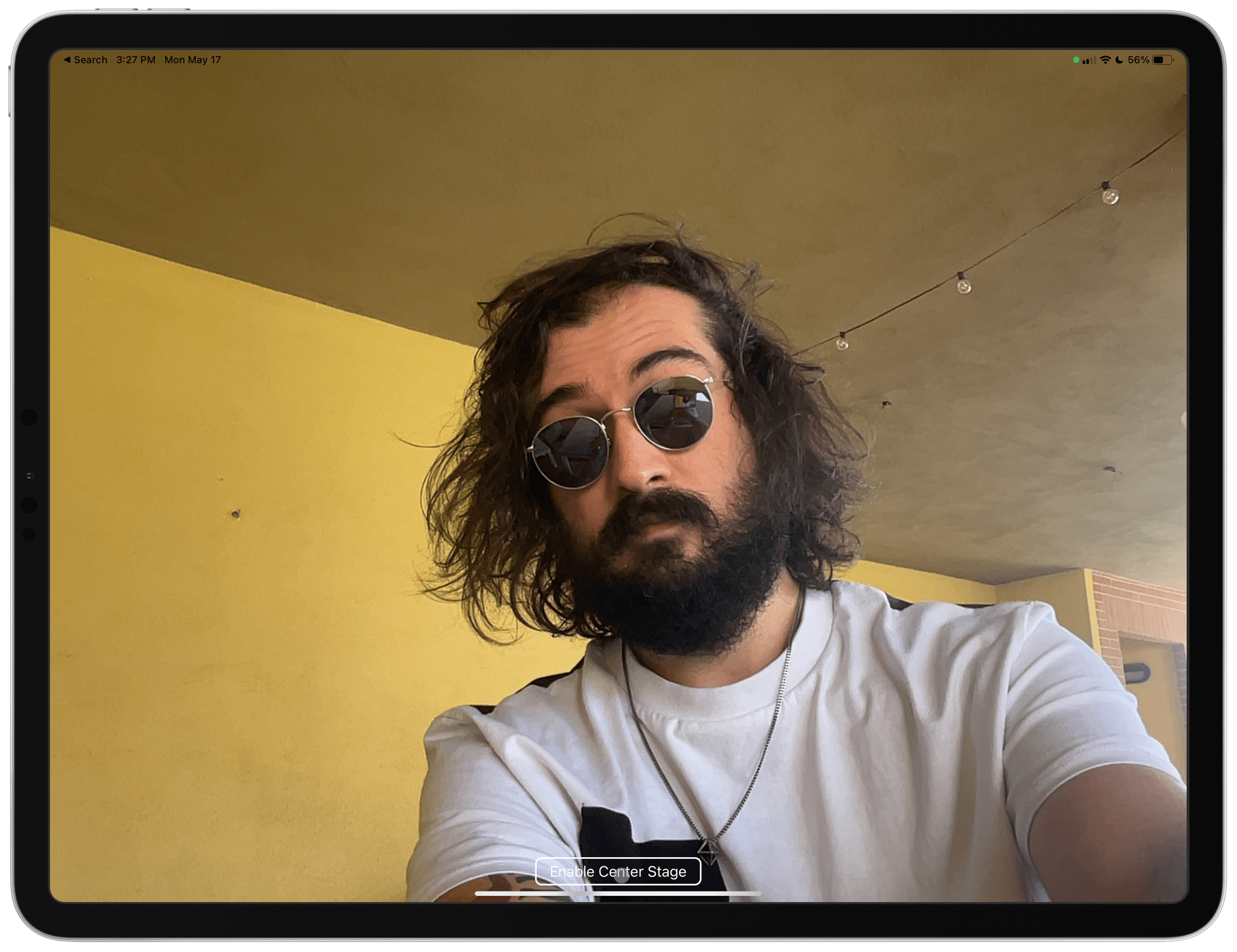 With Center Stage disabled, you can see how iPadOS sees the wider shot.