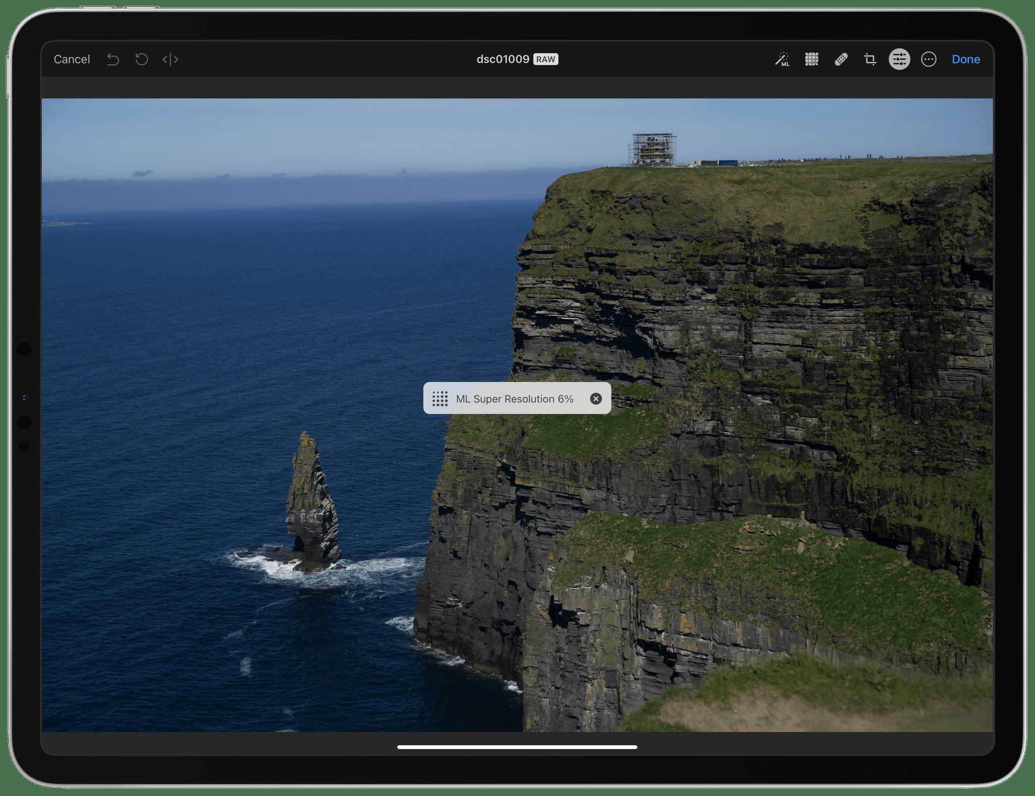 Running ML Super Resolution in Pixelmator Photo.