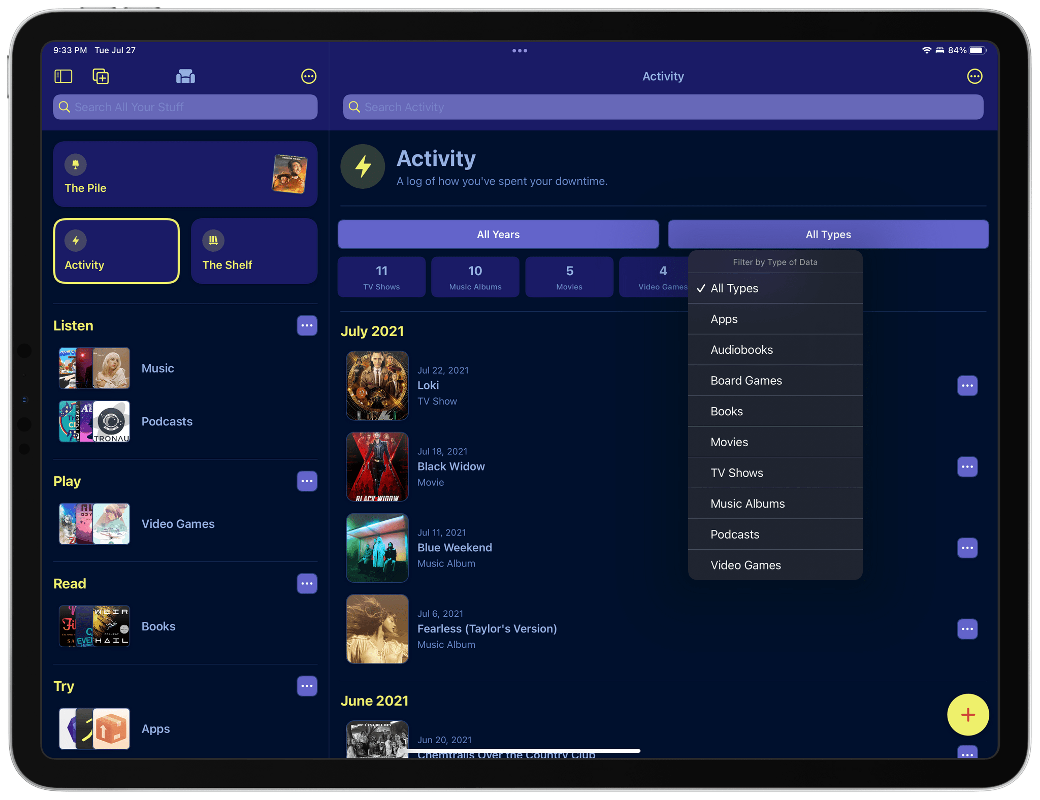 Activity has been overhauled to add stats and filtering functionality.