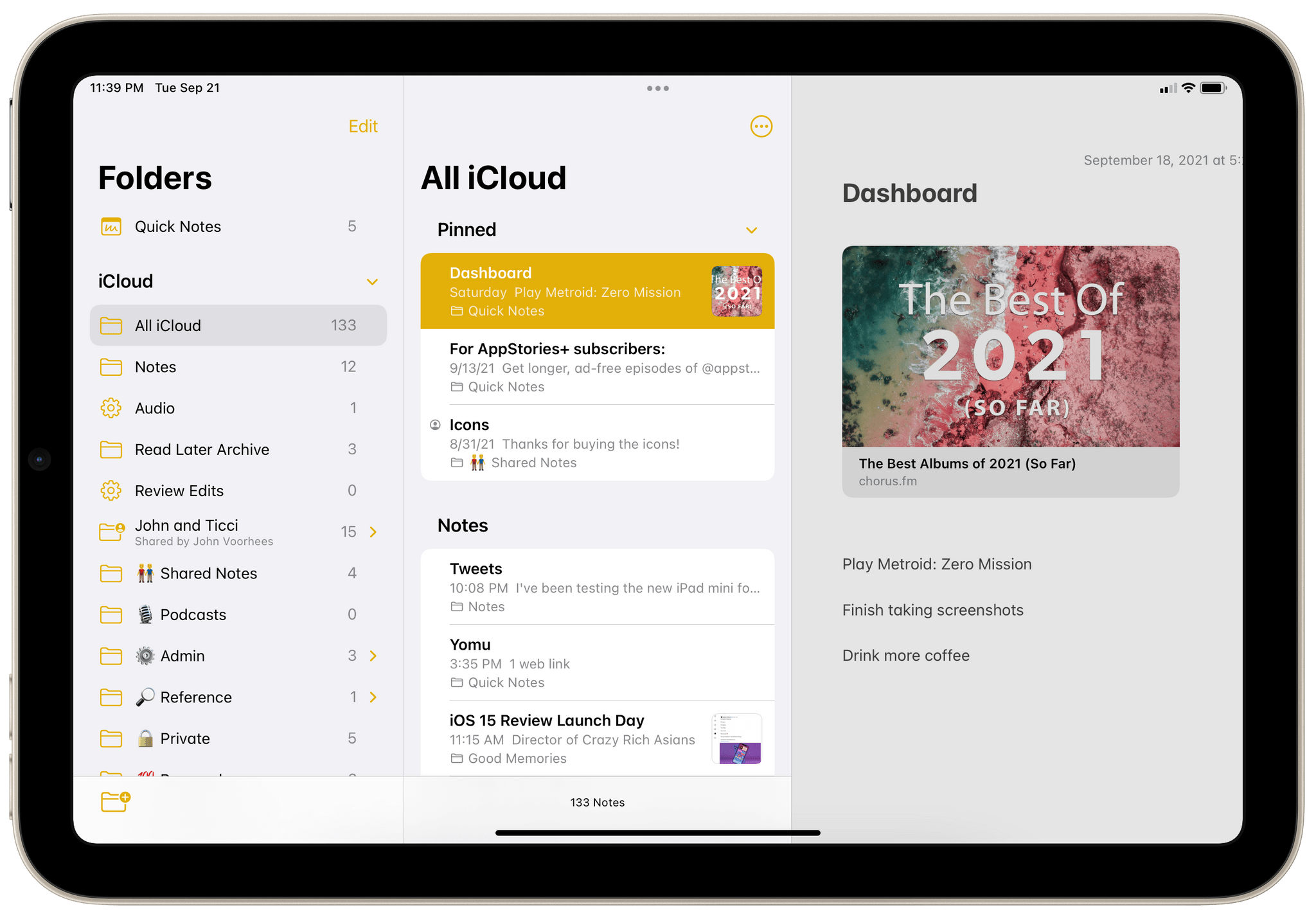 In Notes, you cannot use three columns at the same time with the iPad mini.
