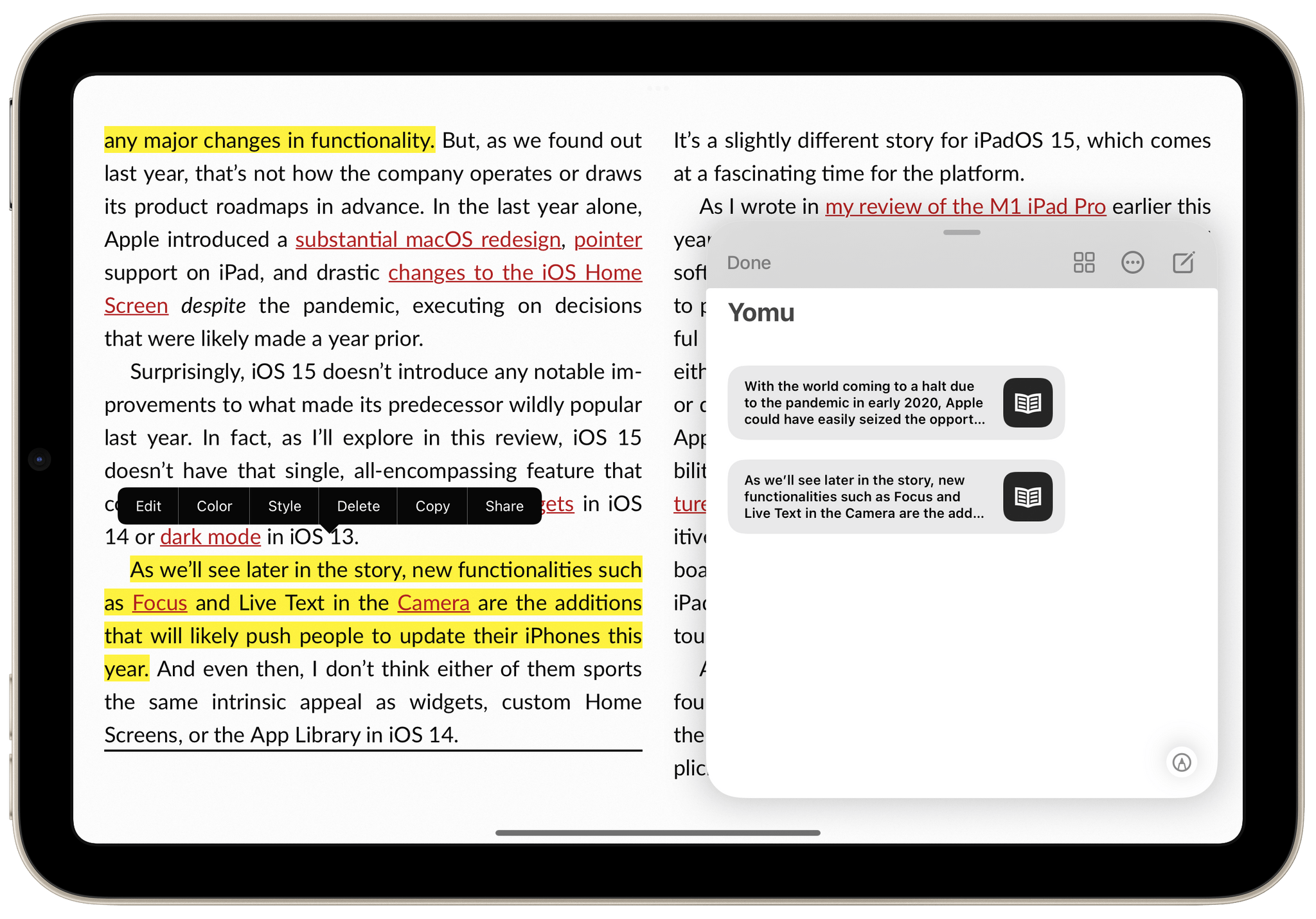 With Yomu, you can save annotations from eBooks as deeplinks in Quick Note. It's perfect for the iPad mini.