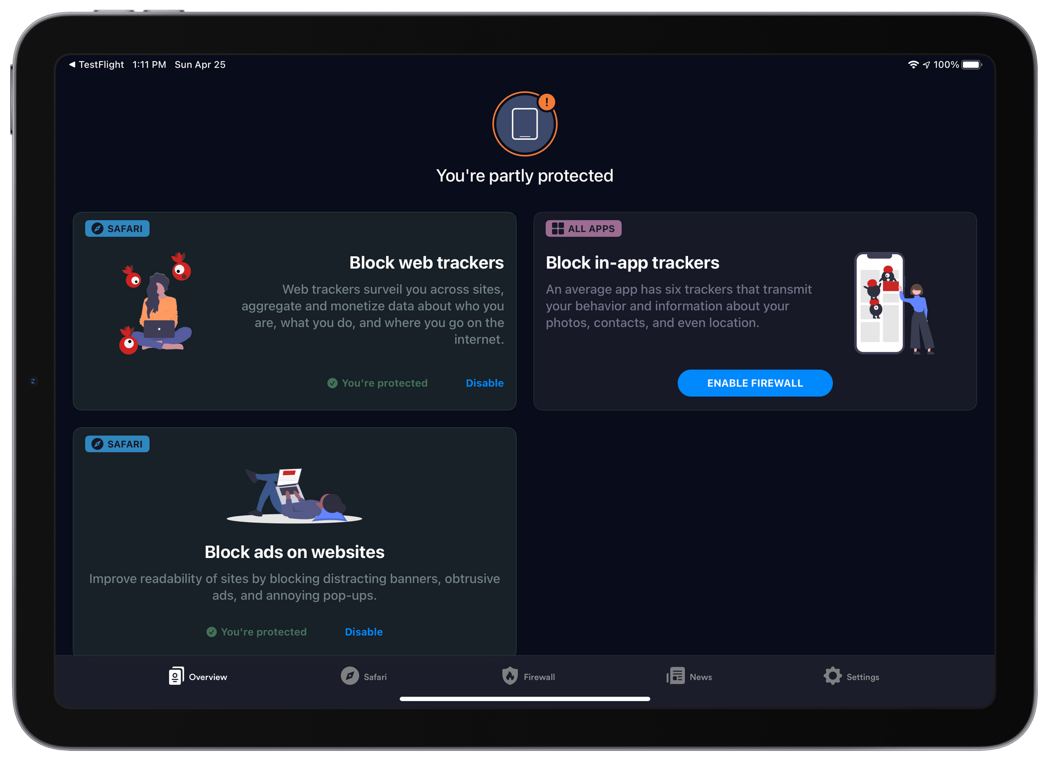 1Blocker can now block web trackers, ads, and in-app trackers.