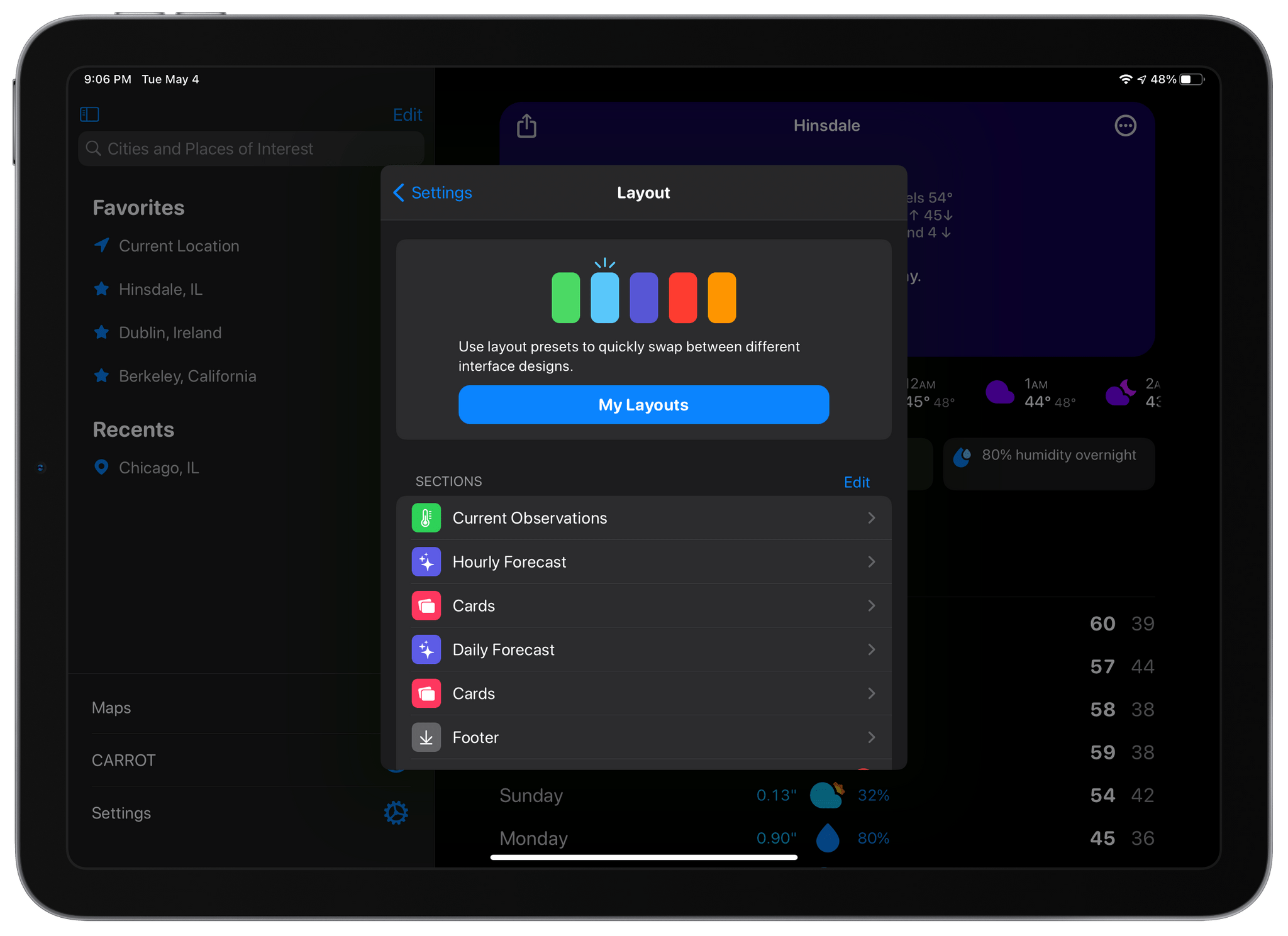 The Layout section of CARROT Weather's settings is where you choose from layout templates and add individual data components called Sections.