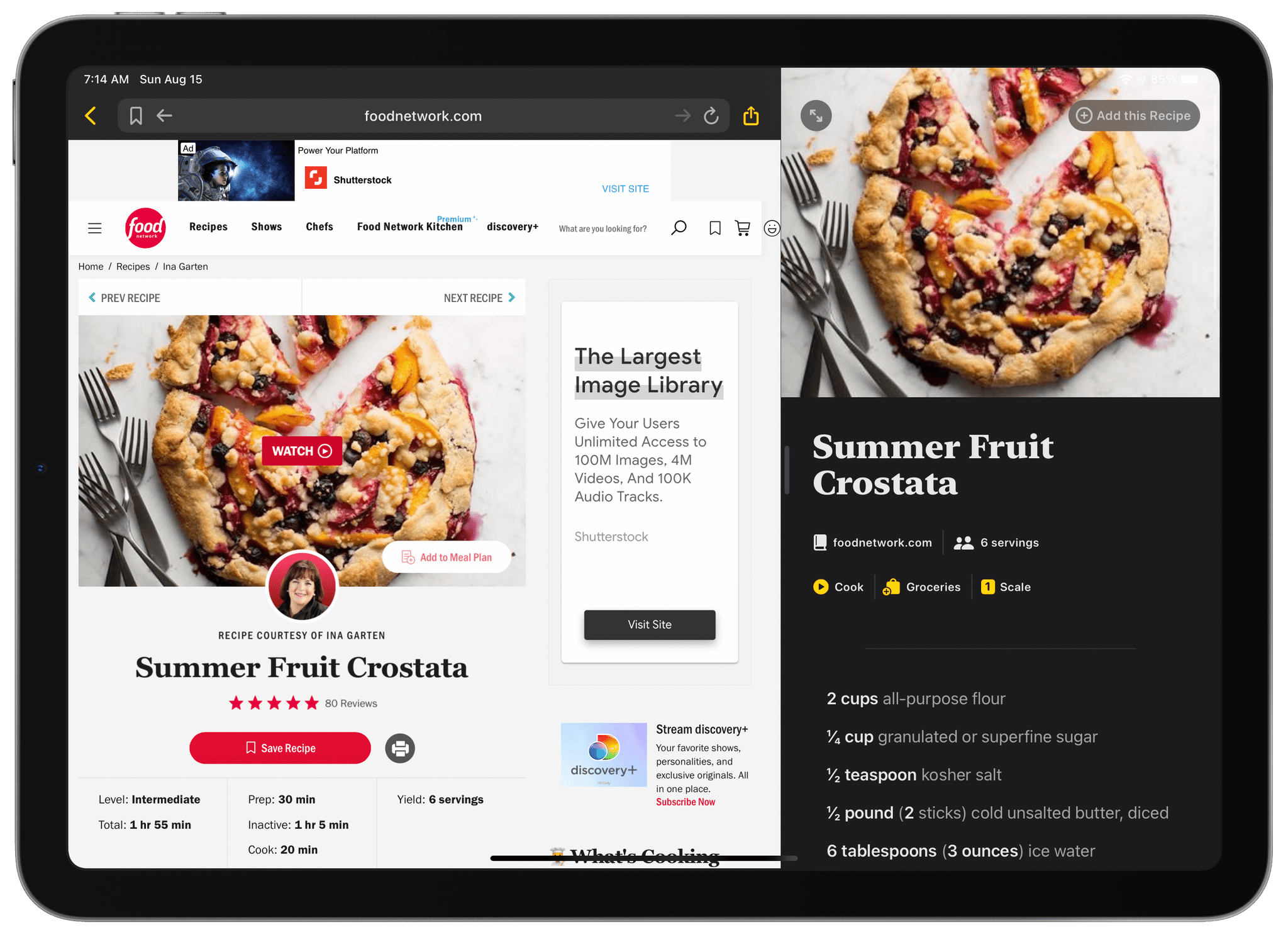 Using Mela's browser to import recipes.
