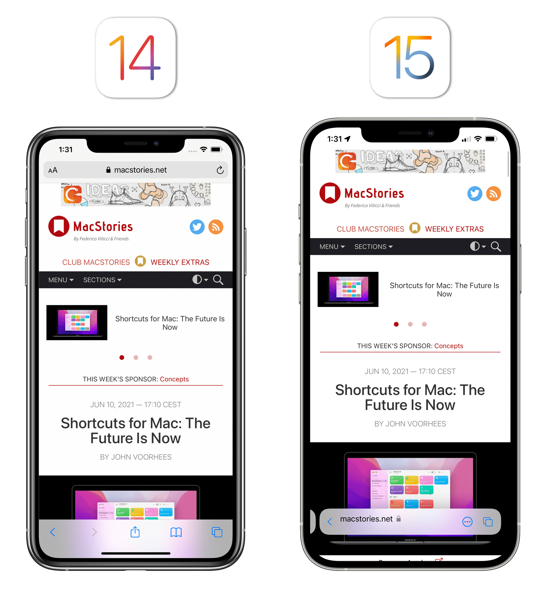 Old and new Safari for iPhone. For context, the phone running iOS 14 is a smaller iPhone XS Max.