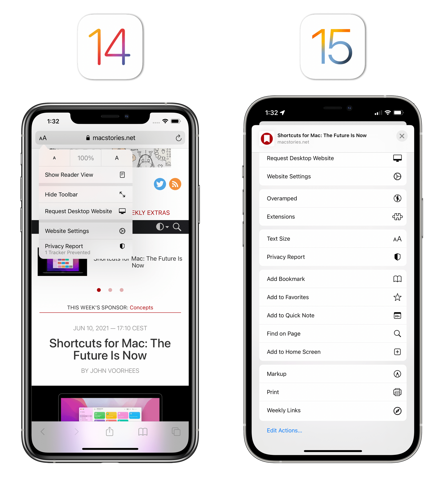 One of the downsides of removing buttons from the new Safari: options that used to be accessible with one tap are now hidden in a long menu.