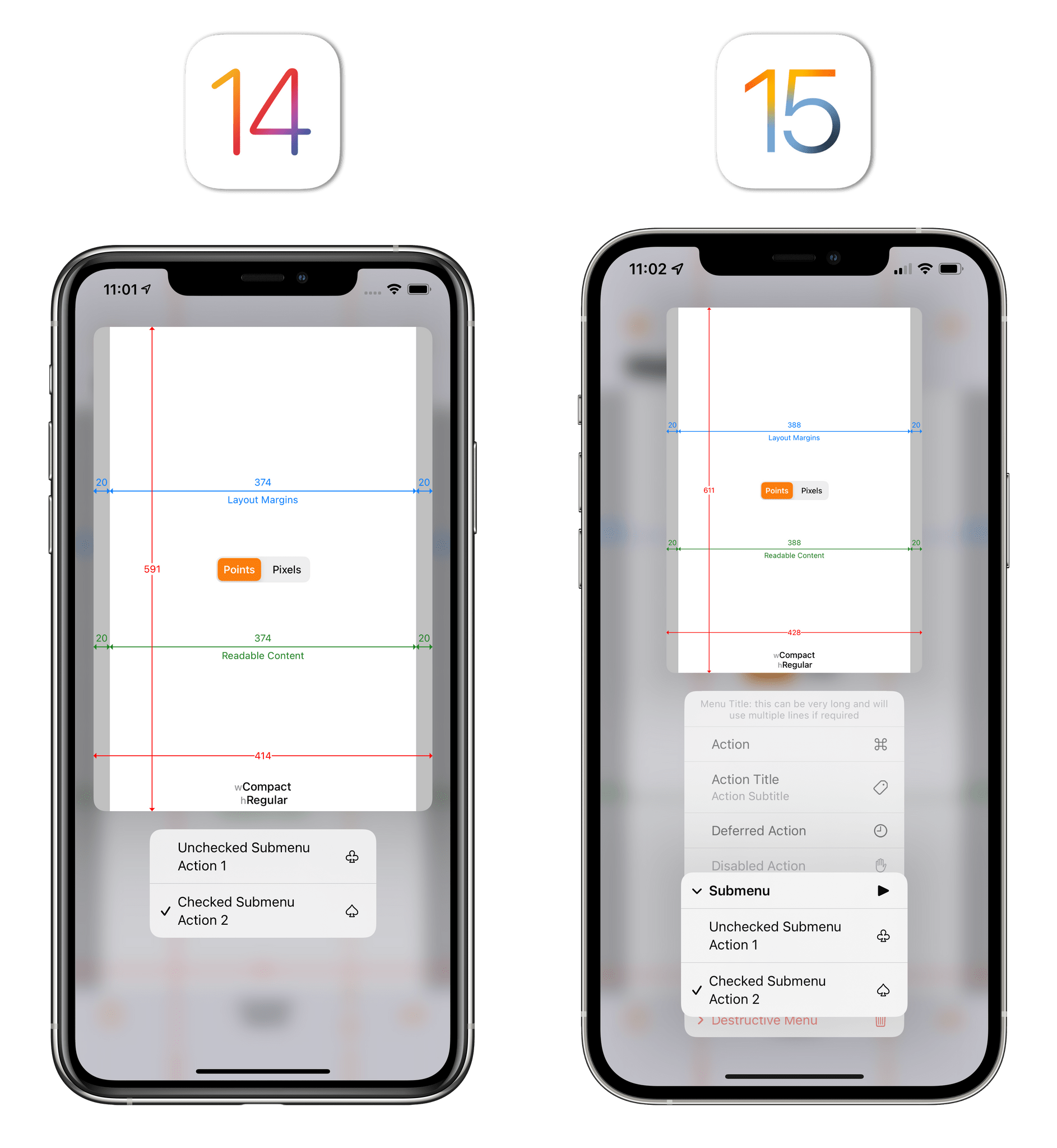 The new look for nested menus in iOS 15.