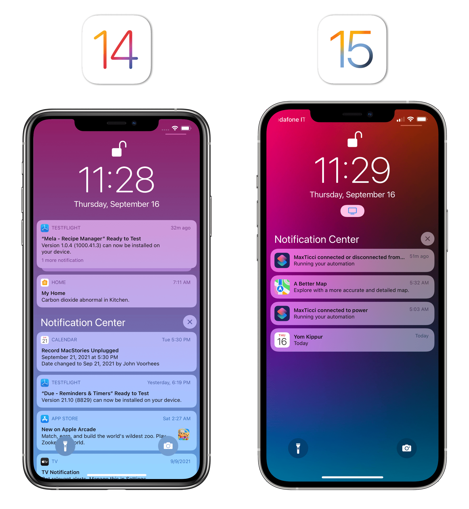 Notifications are more compact in iOS 15 despite having bigger icons.