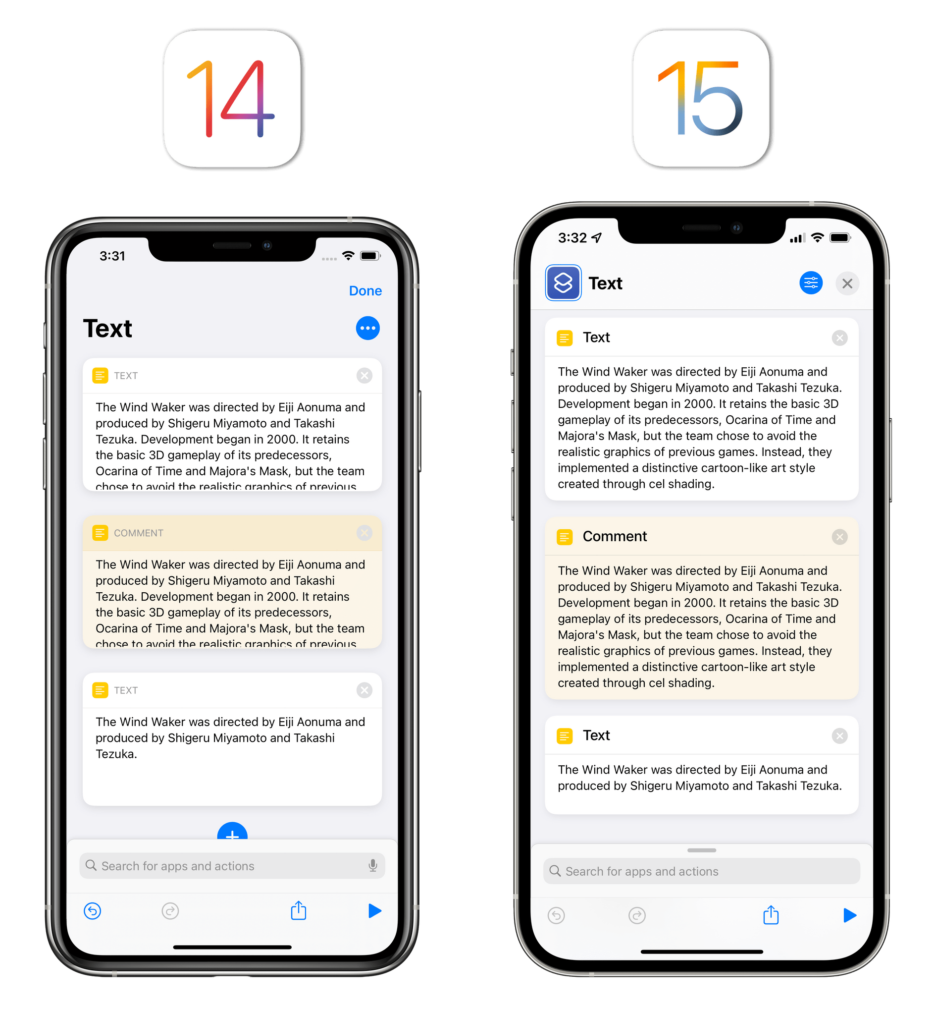 Text and Comment actions can now resize depending on content.