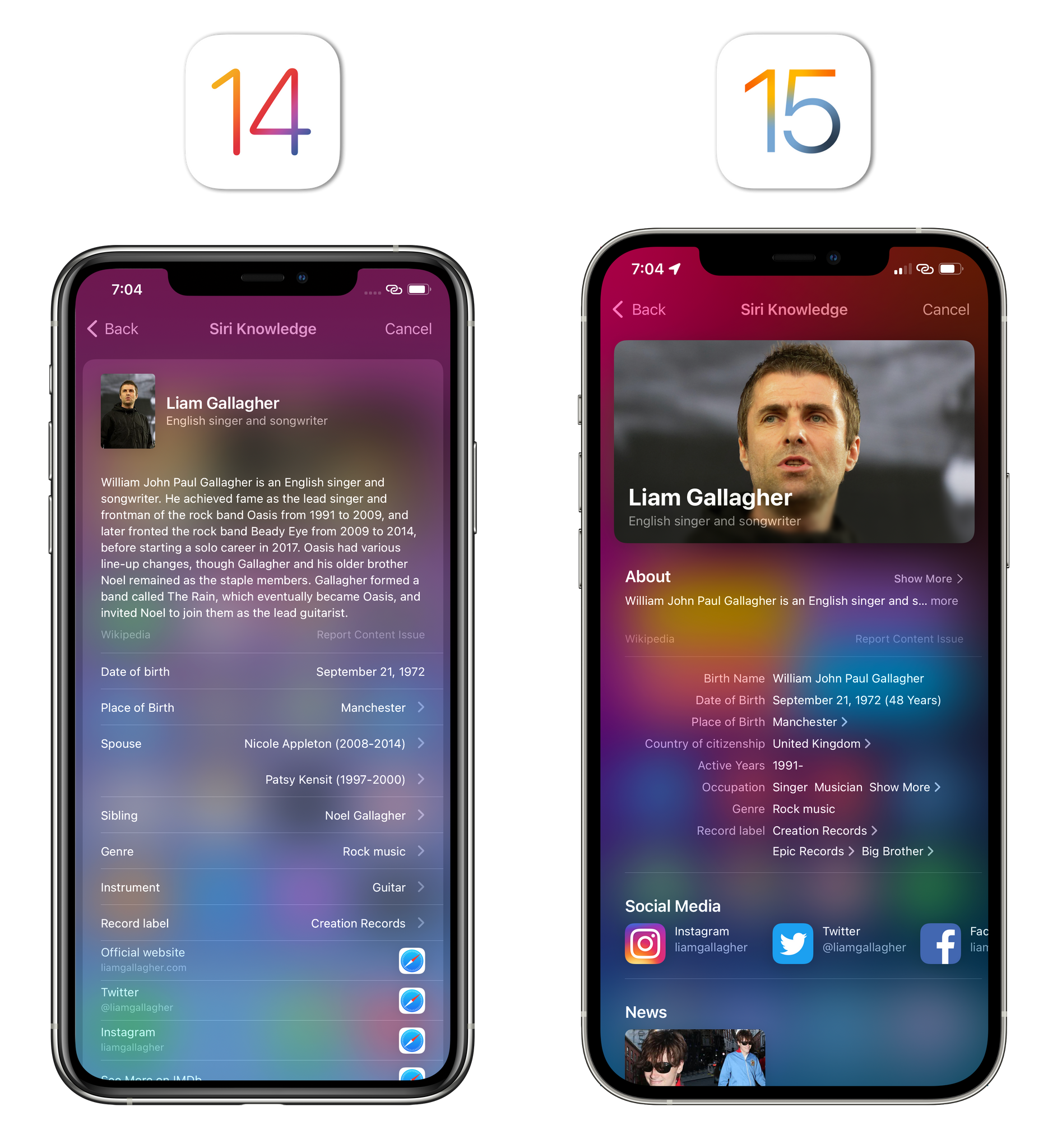 Richer Siri Knowledge results in iOS 15.