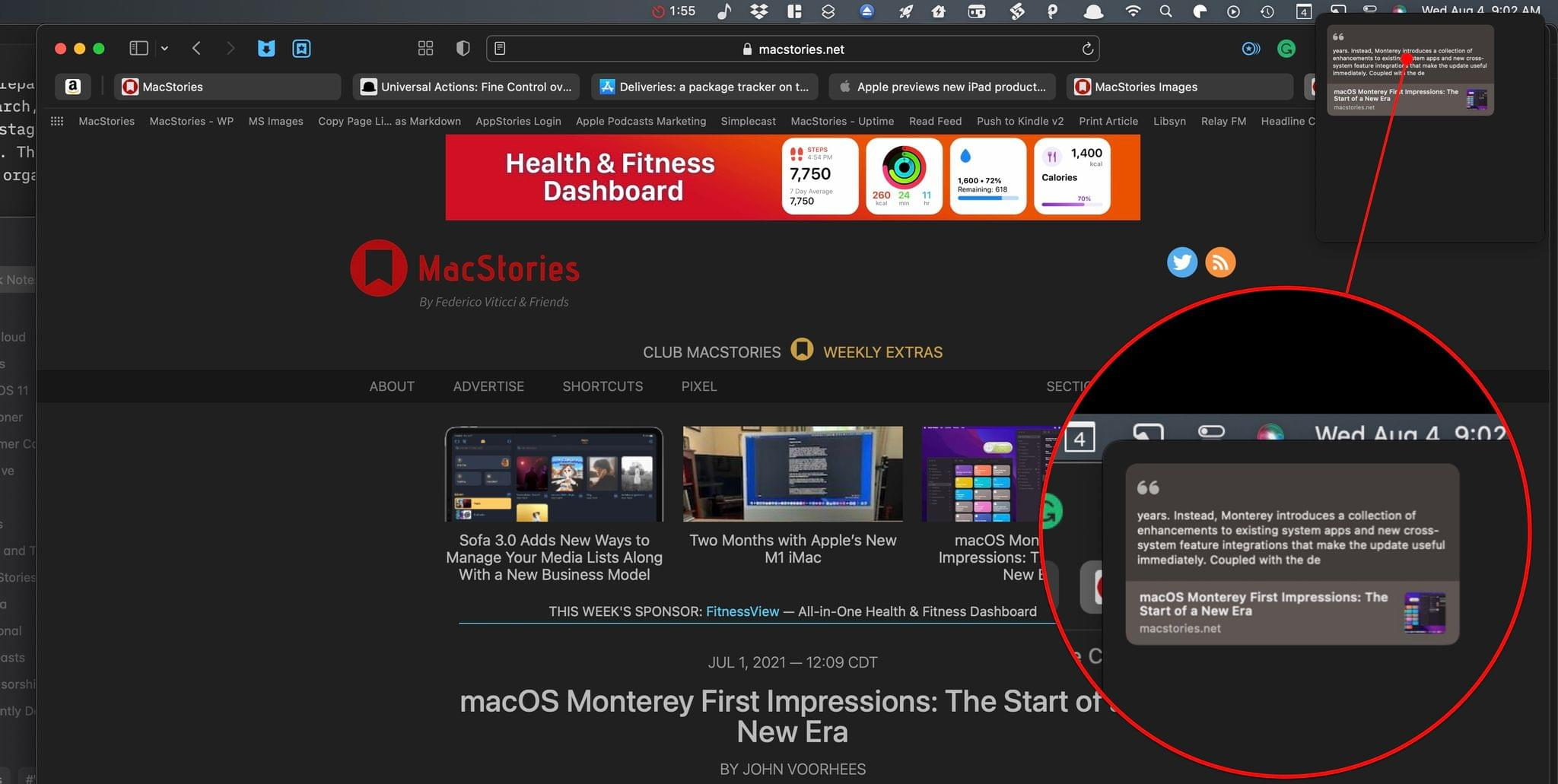 When you return to a highlighted webpage in Safari, a thumbnail of your Quick Note slides into view.