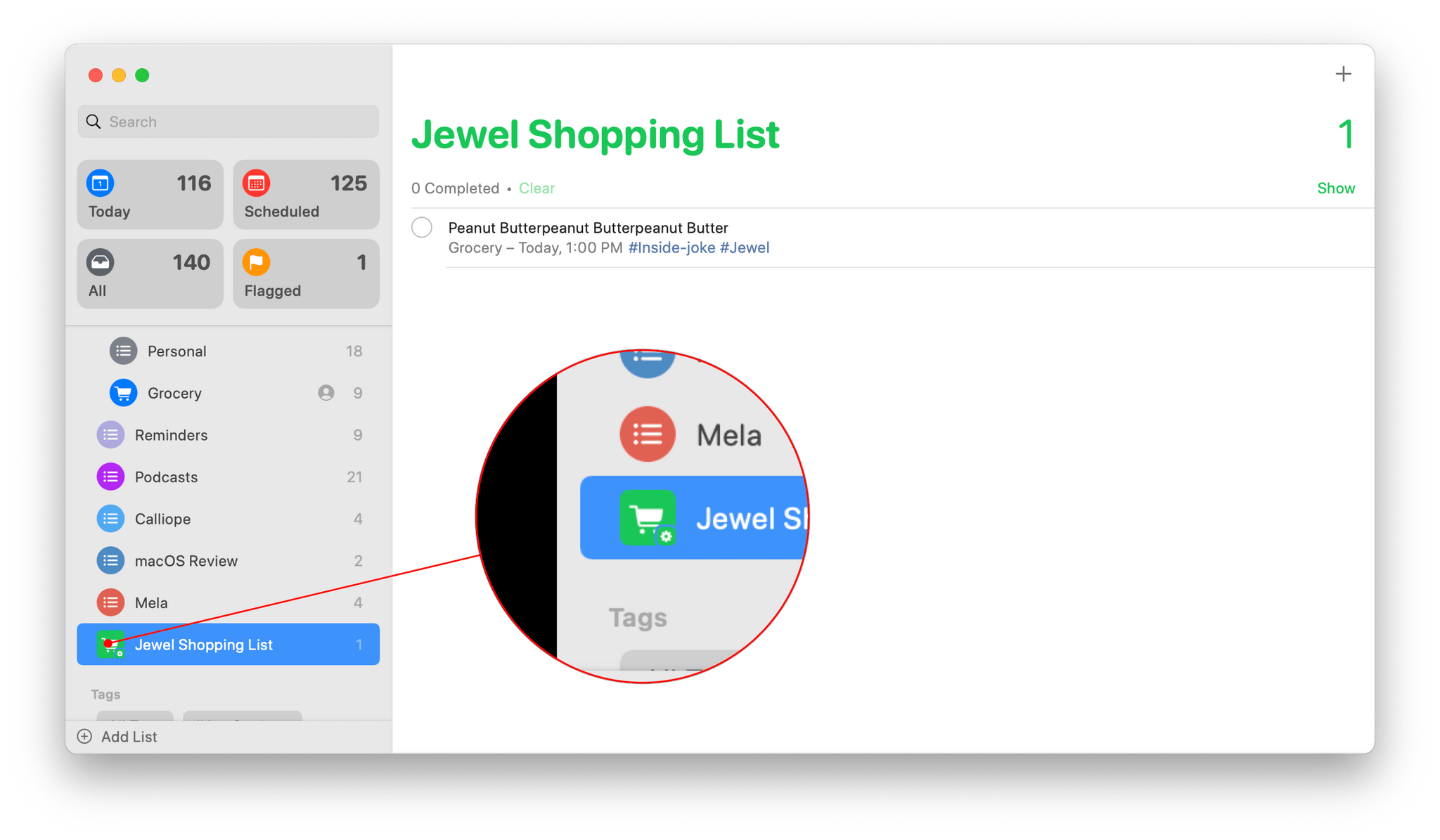 Smart Lists are labeled with an overlayed gear icon in the sidebar.