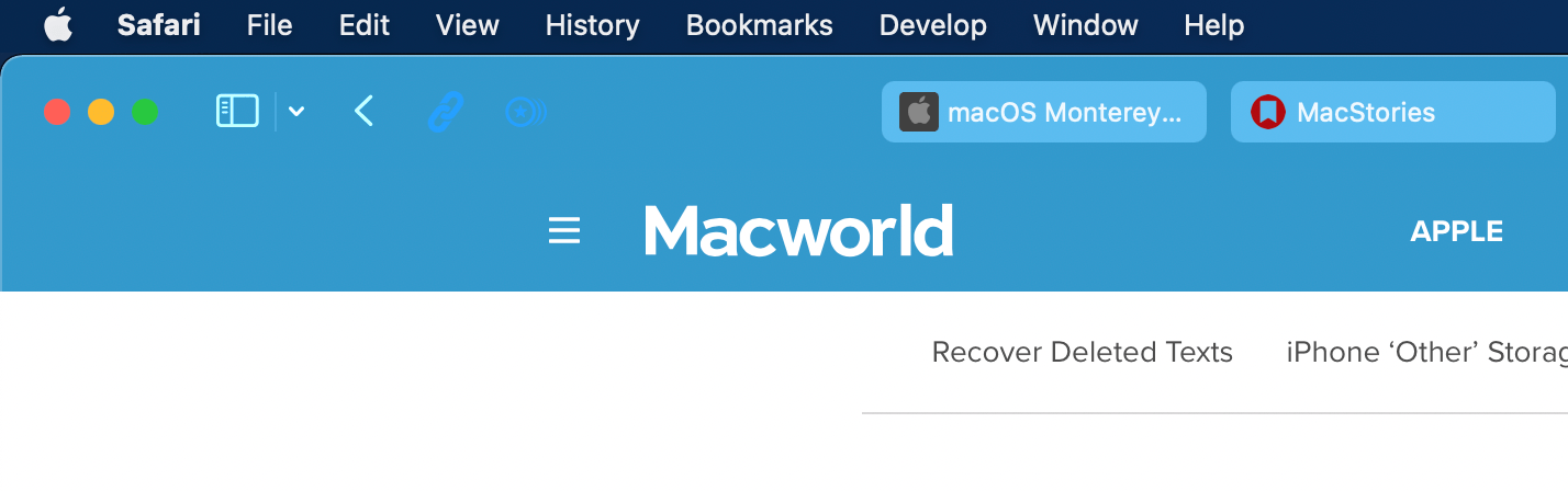 Although Apple's built-in toolbar buttons adjust to account for the color that extends to the toolbar from a webpage, web extension buttons don't seem to, which is problematic for a site like Macworld, which is close to the color used for extension buttons.