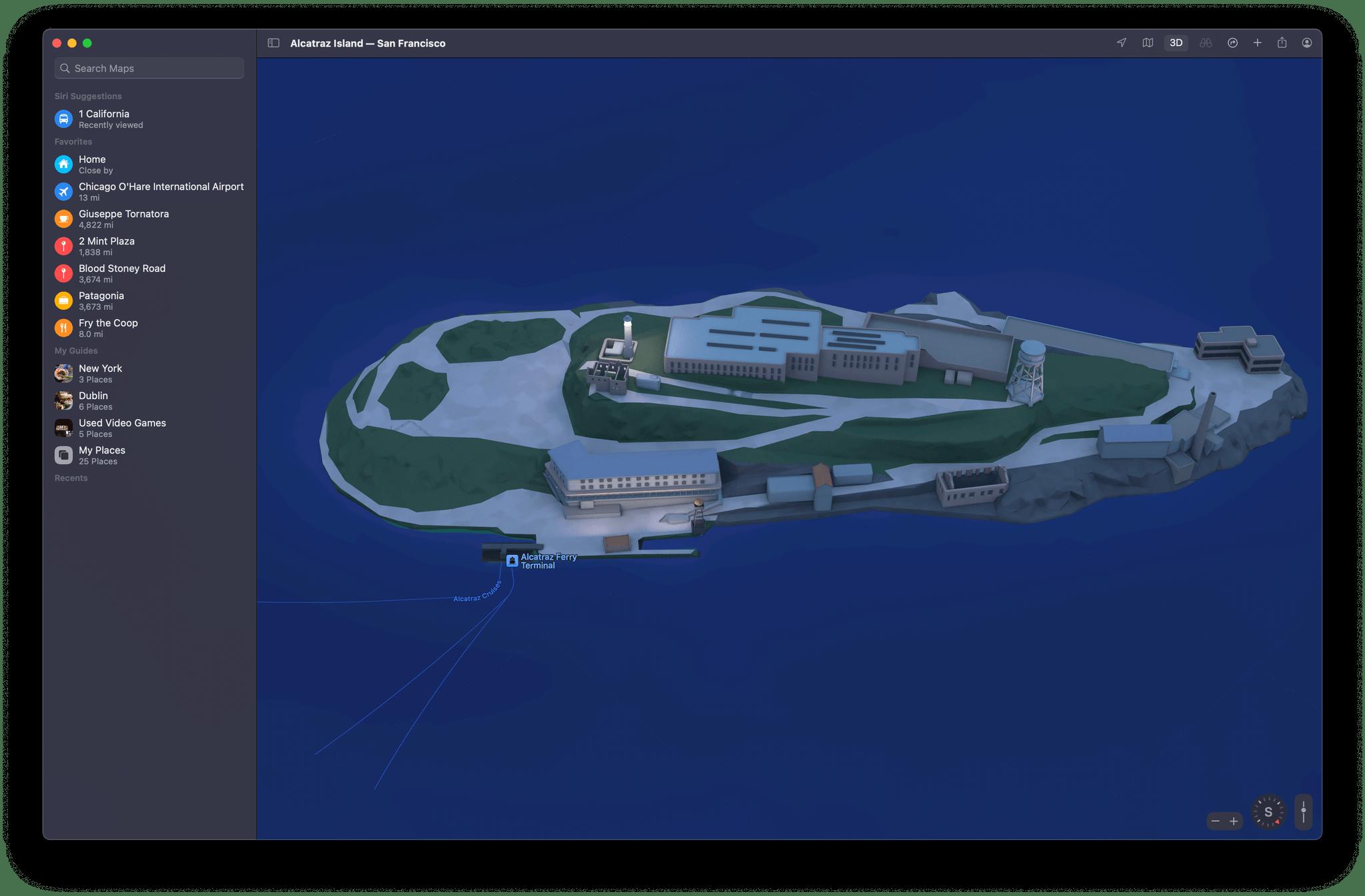 Alcatraz in night mode on macOS Monterey.