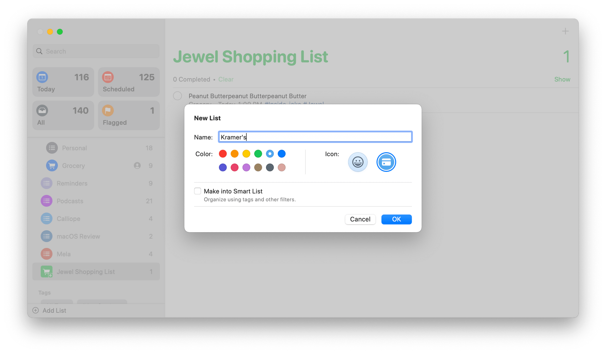 When creating a list in Reminders, there's a new Make into Smart List option.