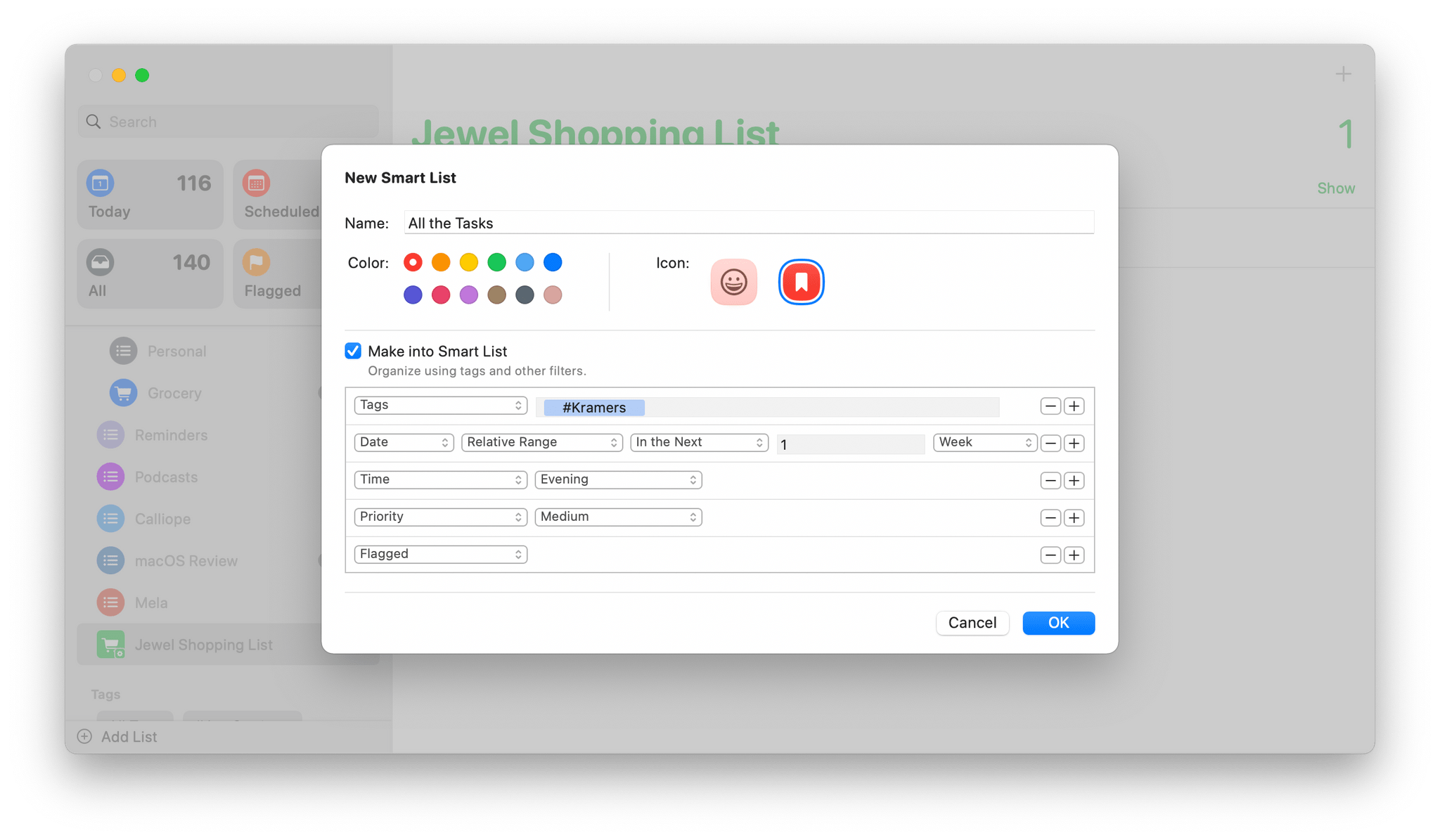 A sampling of the parameters and options available in Smart Lists.