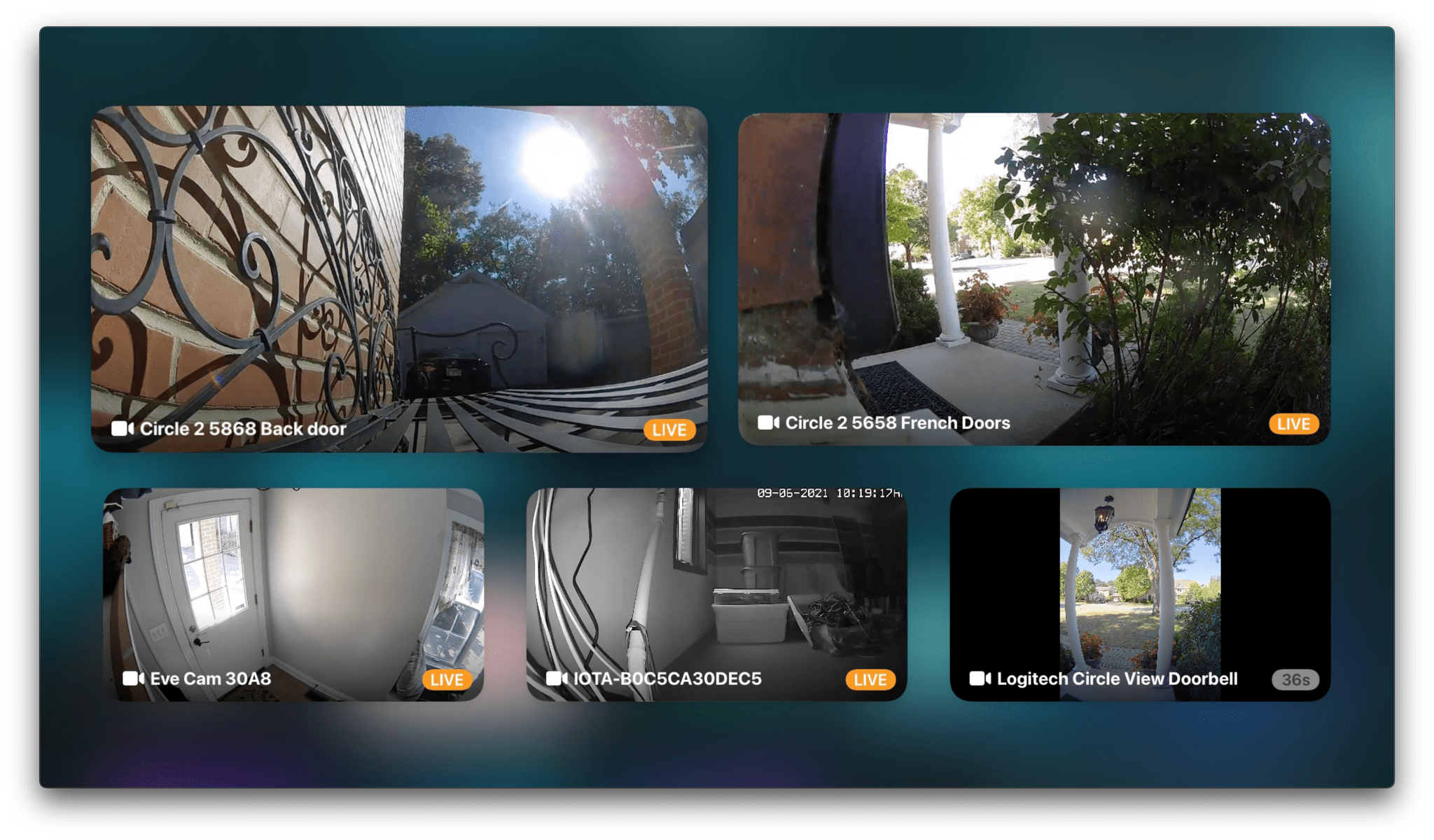 Displaying all available cameras in a grid with the Apple TV.