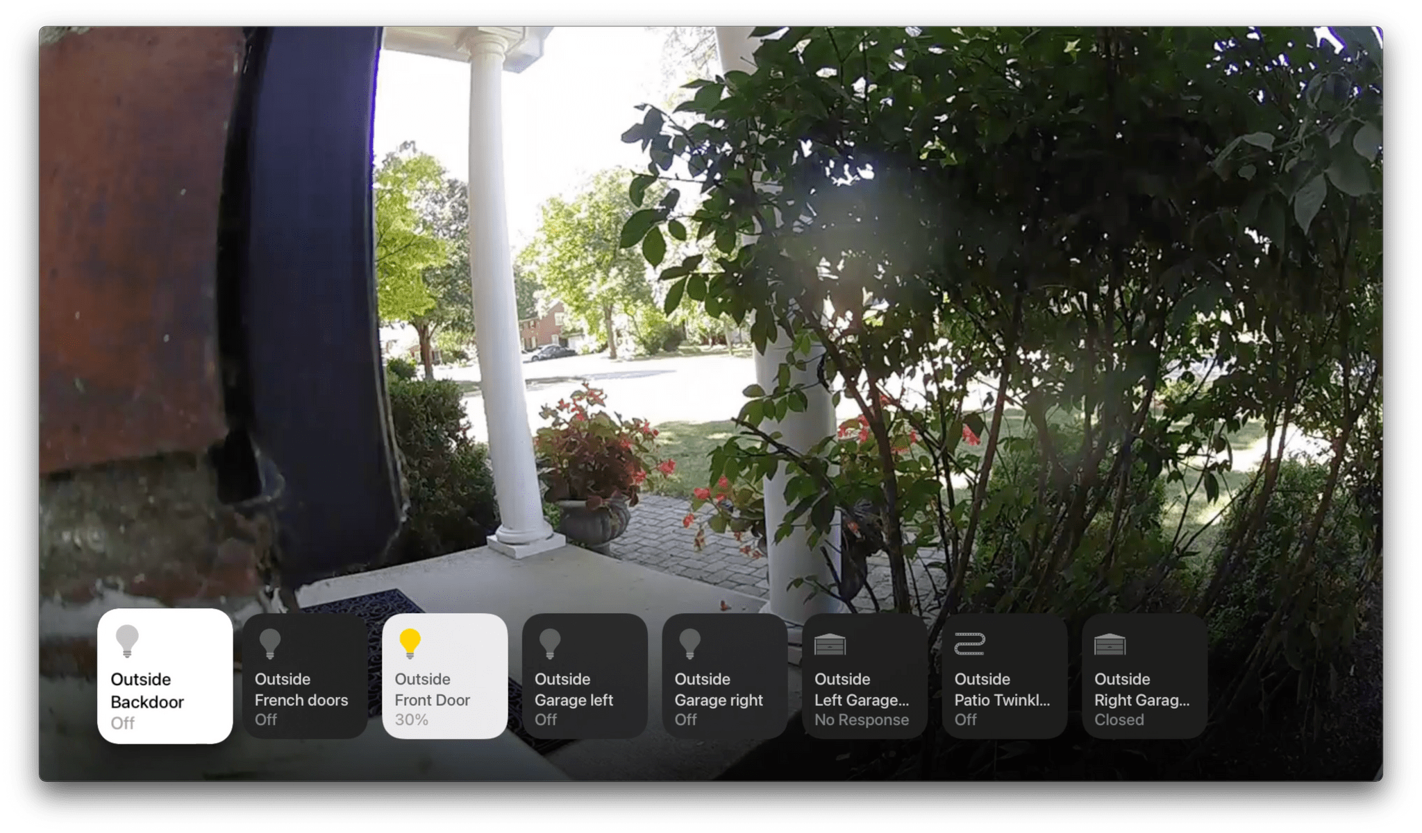 You can control individual HomeKit devices from tvOS too.
