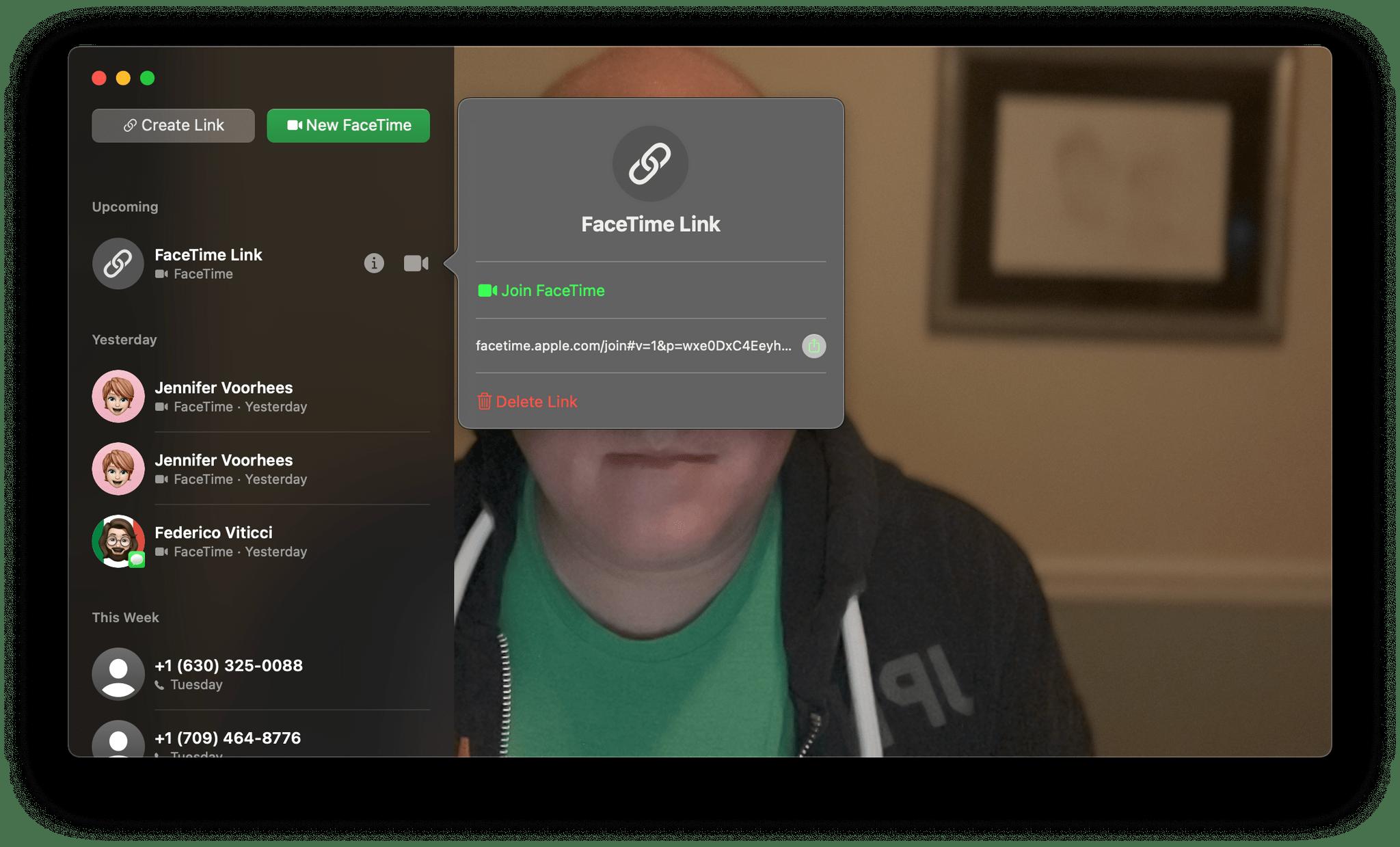 Managing FaceTime links inside the app.