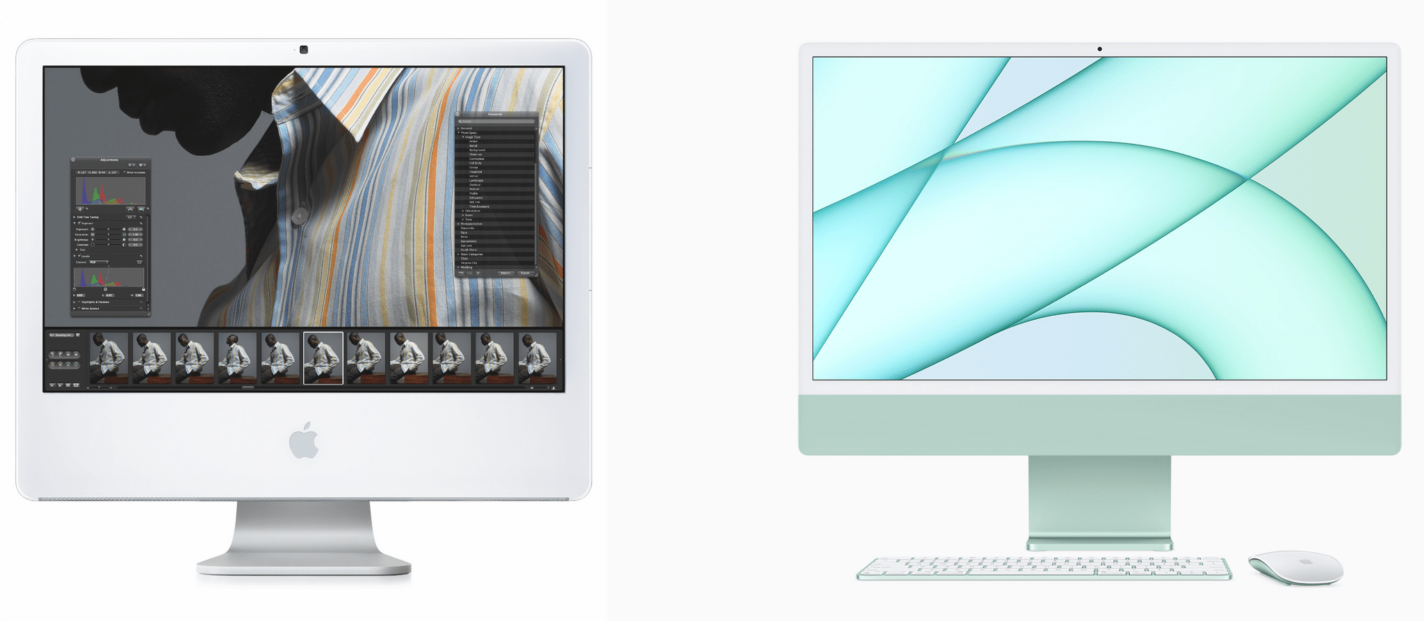 The iMac has come a long way since the first one I owned (left) and the latest M1 model (right).