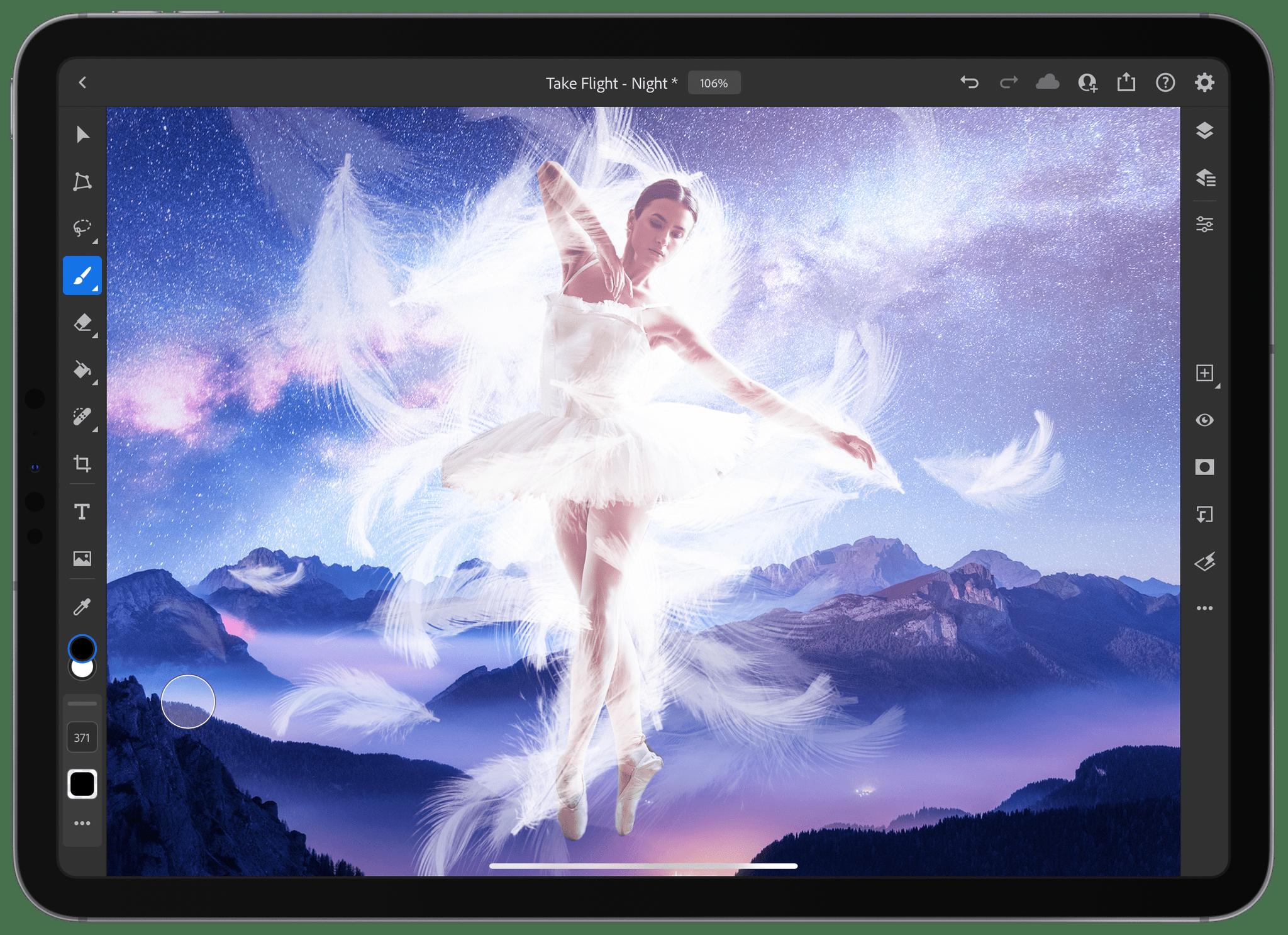 Photoshop for iPad supports custom brushes.